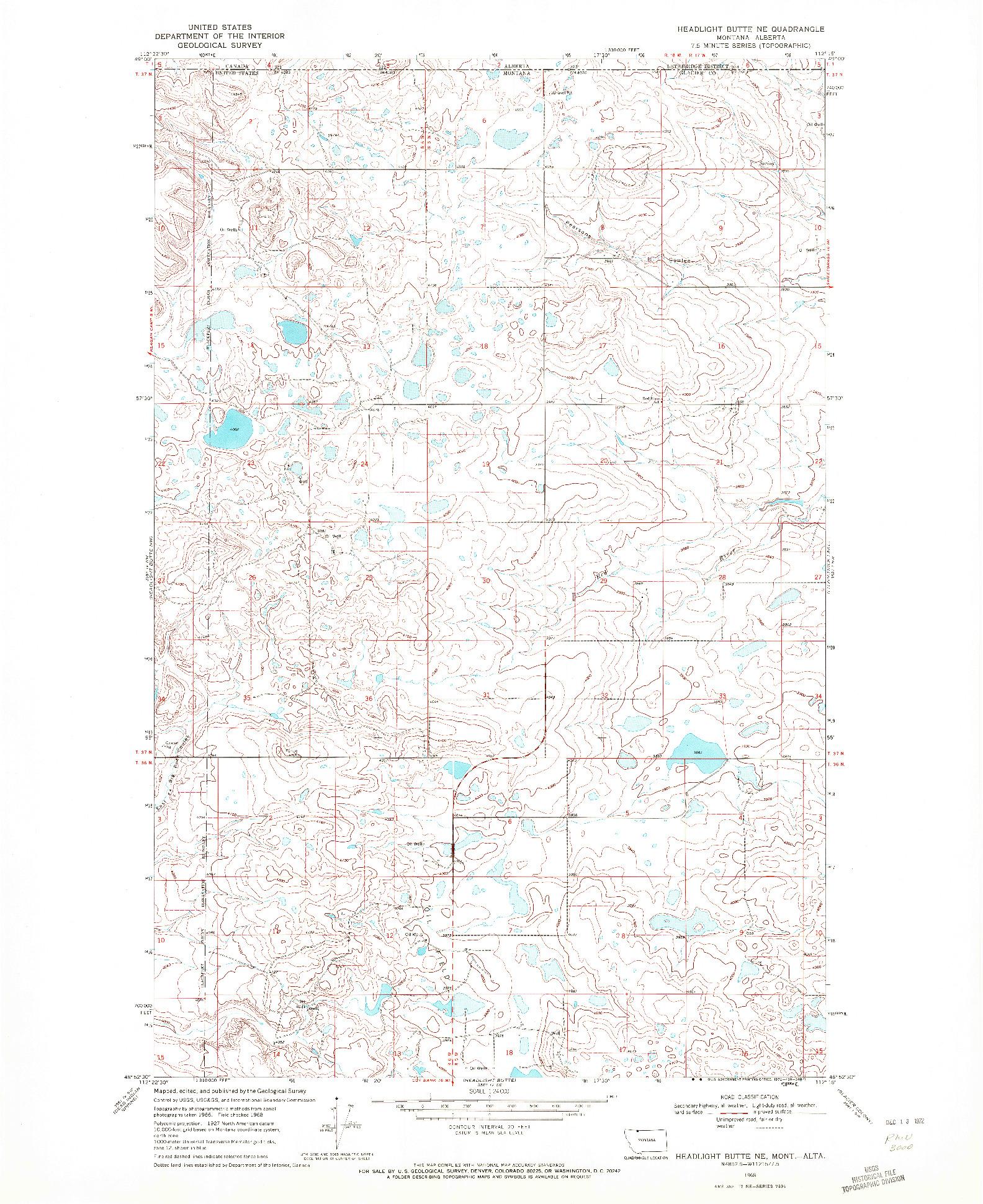 USGS 1:24000-SCALE QUADRANGLE FOR HEADLIGHT BUTTE NE, MT 1968