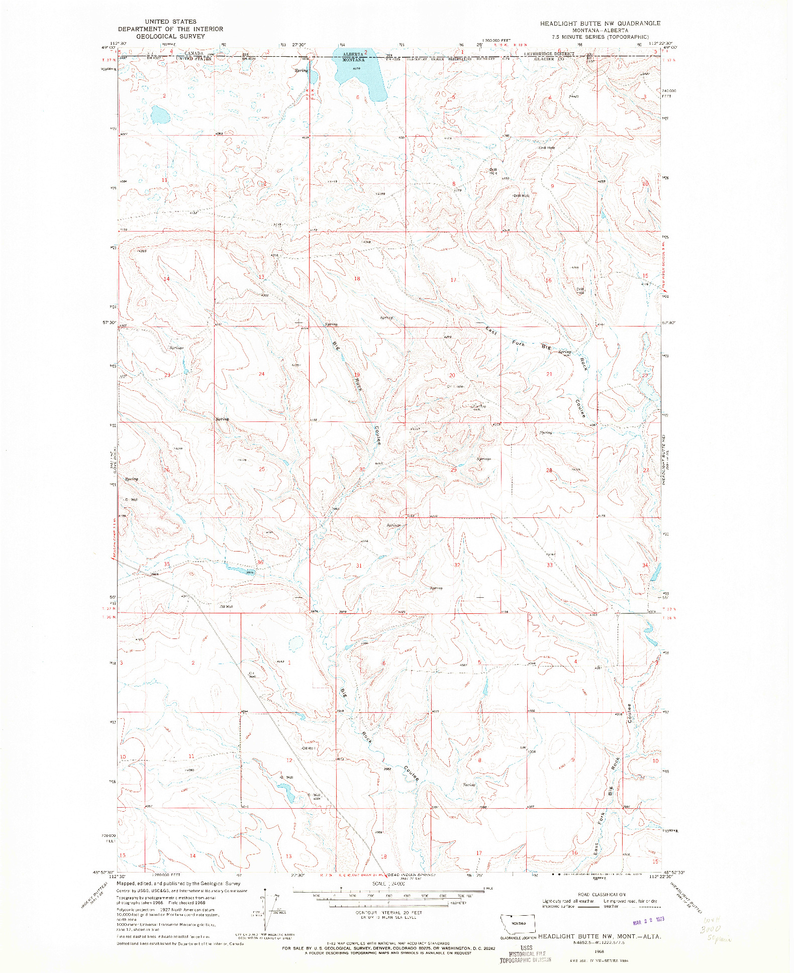 USGS 1:24000-SCALE QUADRANGLE FOR HEADLIGHT BUTTE NW, MT 1968