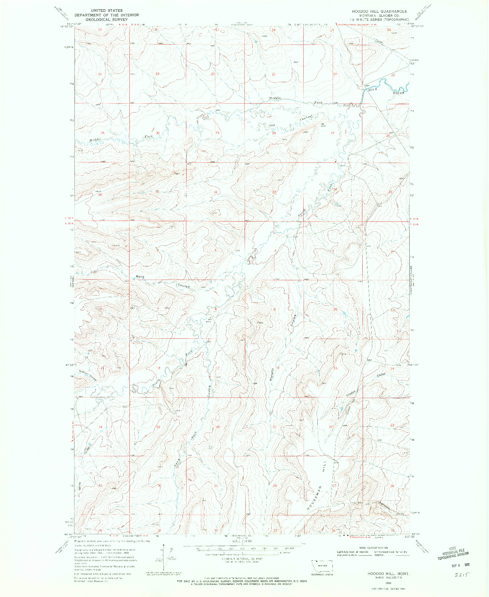 USGS 1:24000-SCALE QUADRANGLE FOR HOODOO HILL, MT 1968