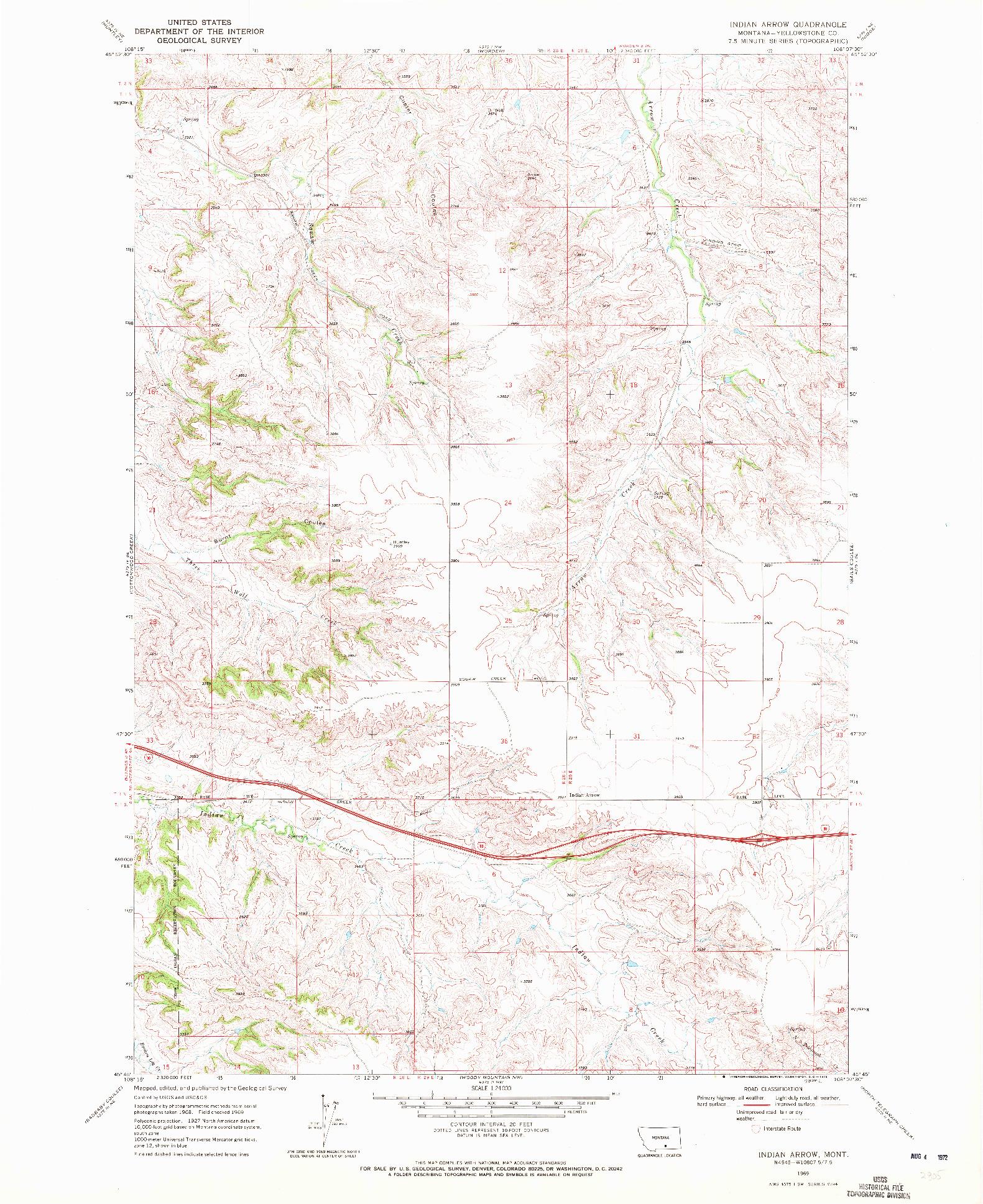 USGS 1:24000-SCALE QUADRANGLE FOR INDIAN ARROW, MT 1969