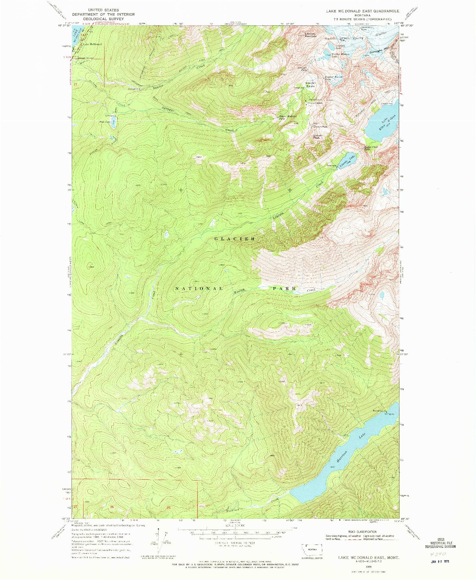 USGS 1:24000-SCALE QUADRANGLE FOR LAKE MC DONALD EAST, MT 1968