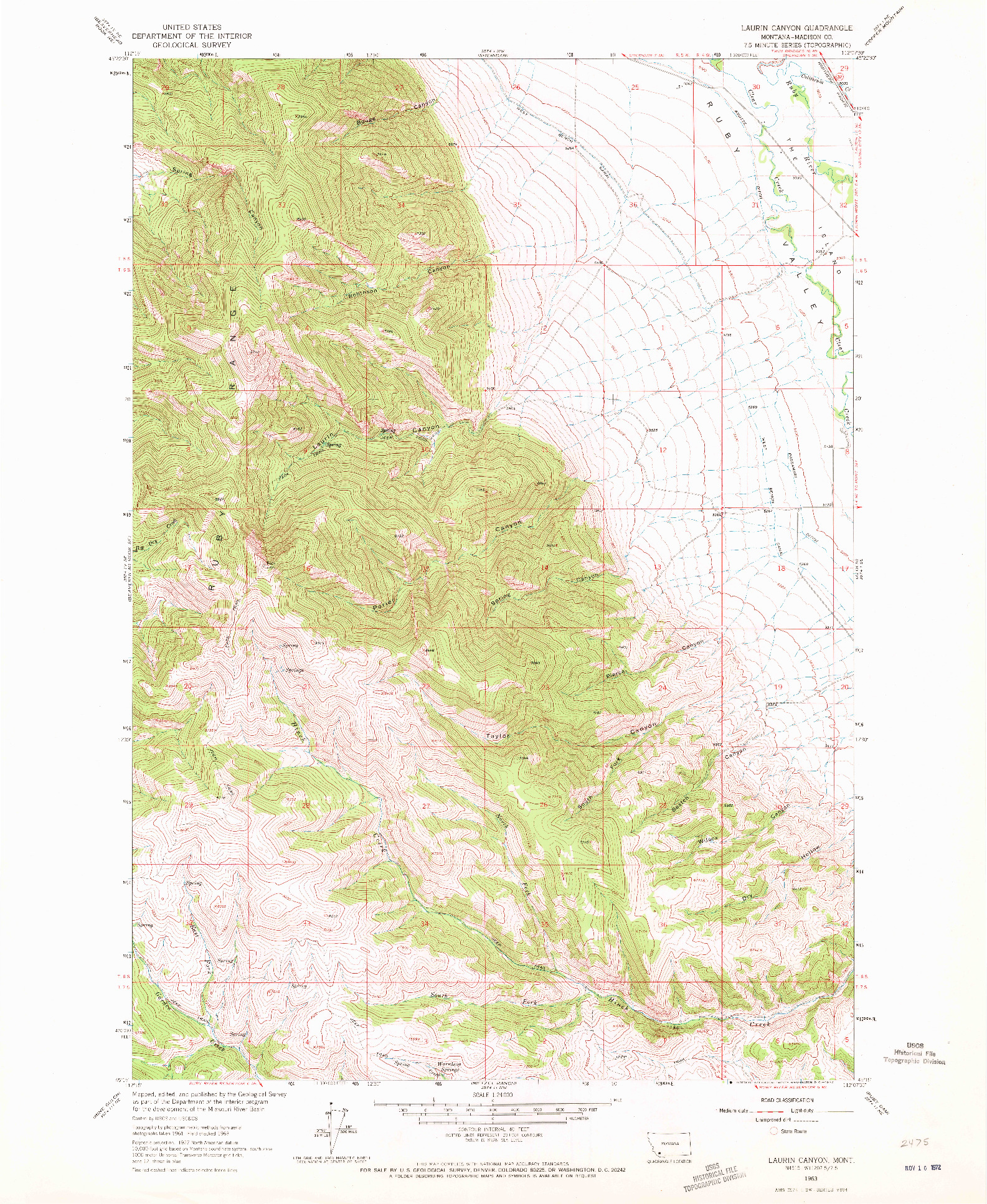 USGS 1:24000-SCALE QUADRANGLE FOR LAURIN CANYON, MT 1963