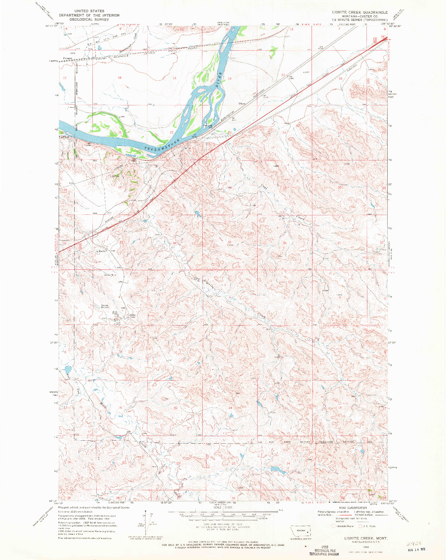 USGS 1:24000-SCALE QUADRANGLE FOR LIGNITE CREEK, MT 1968