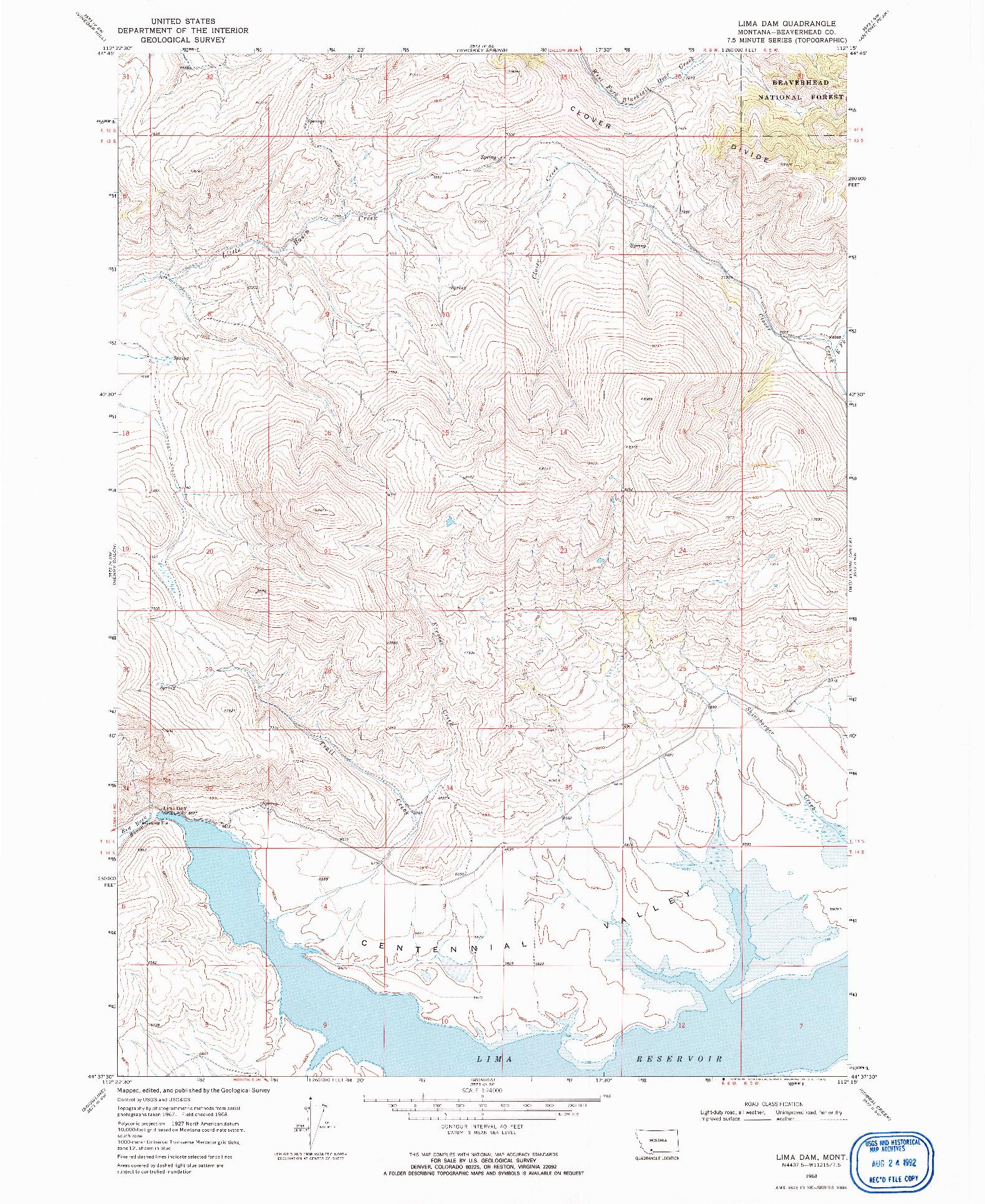 USGS 1:24000-SCALE QUADRANGLE FOR LIMA DAM, MT 1968