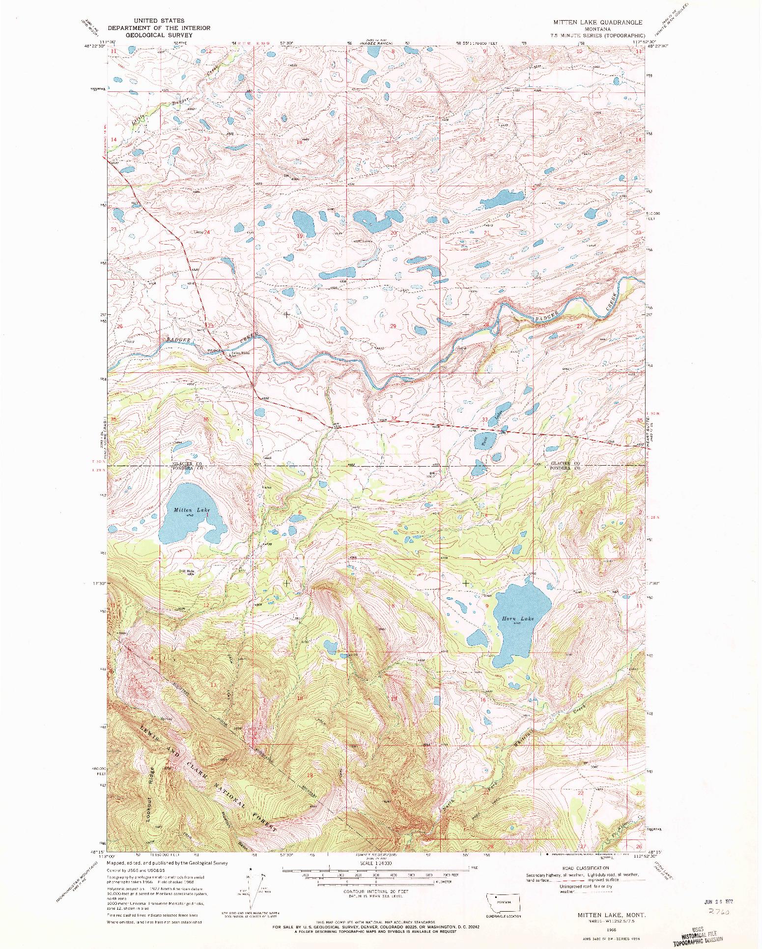 USGS 1:24000-SCALE QUADRANGLE FOR MITTEN LAKE, MT 1968
