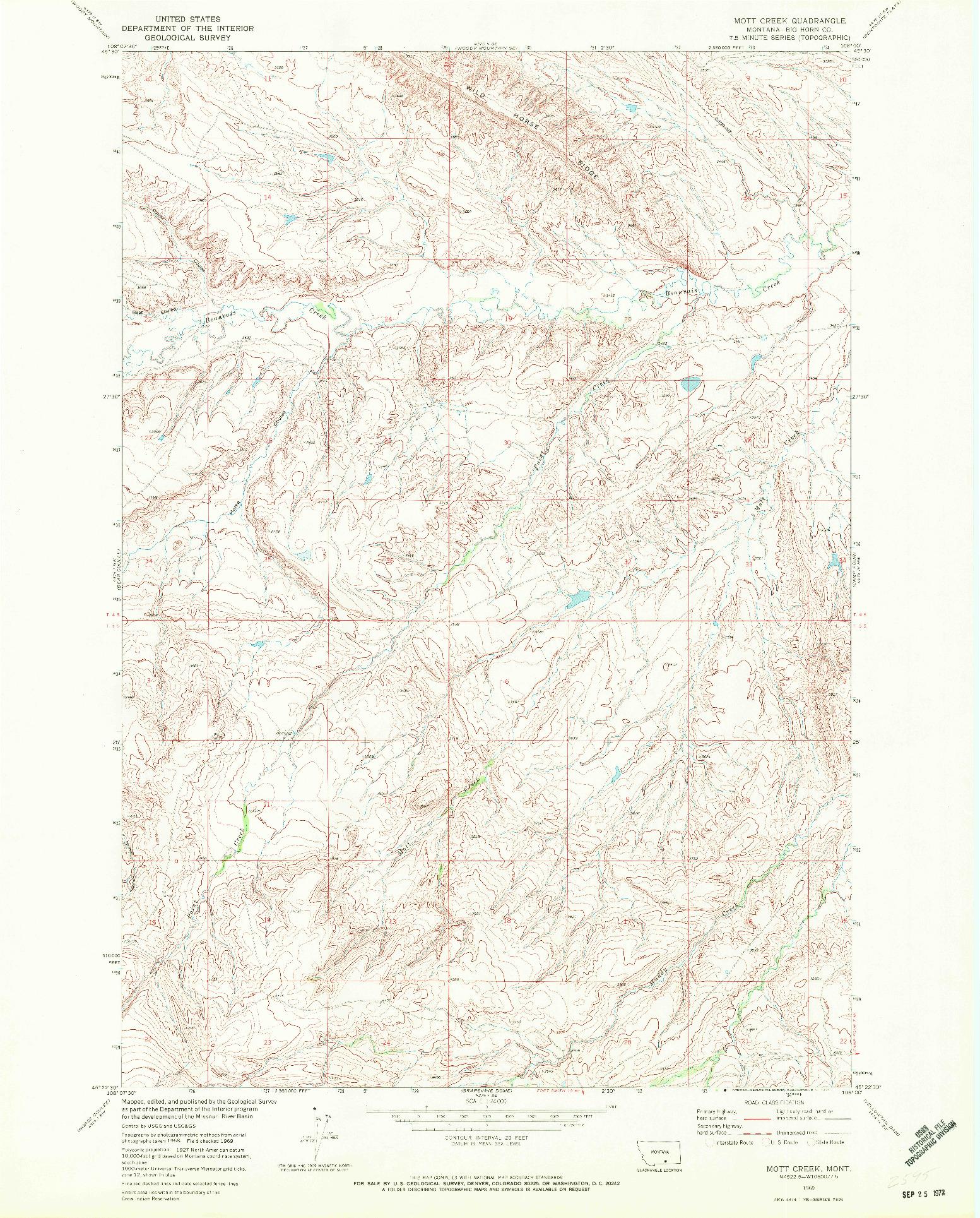 USGS 1:24000-SCALE QUADRANGLE FOR MOTT CREEK, MT 1969