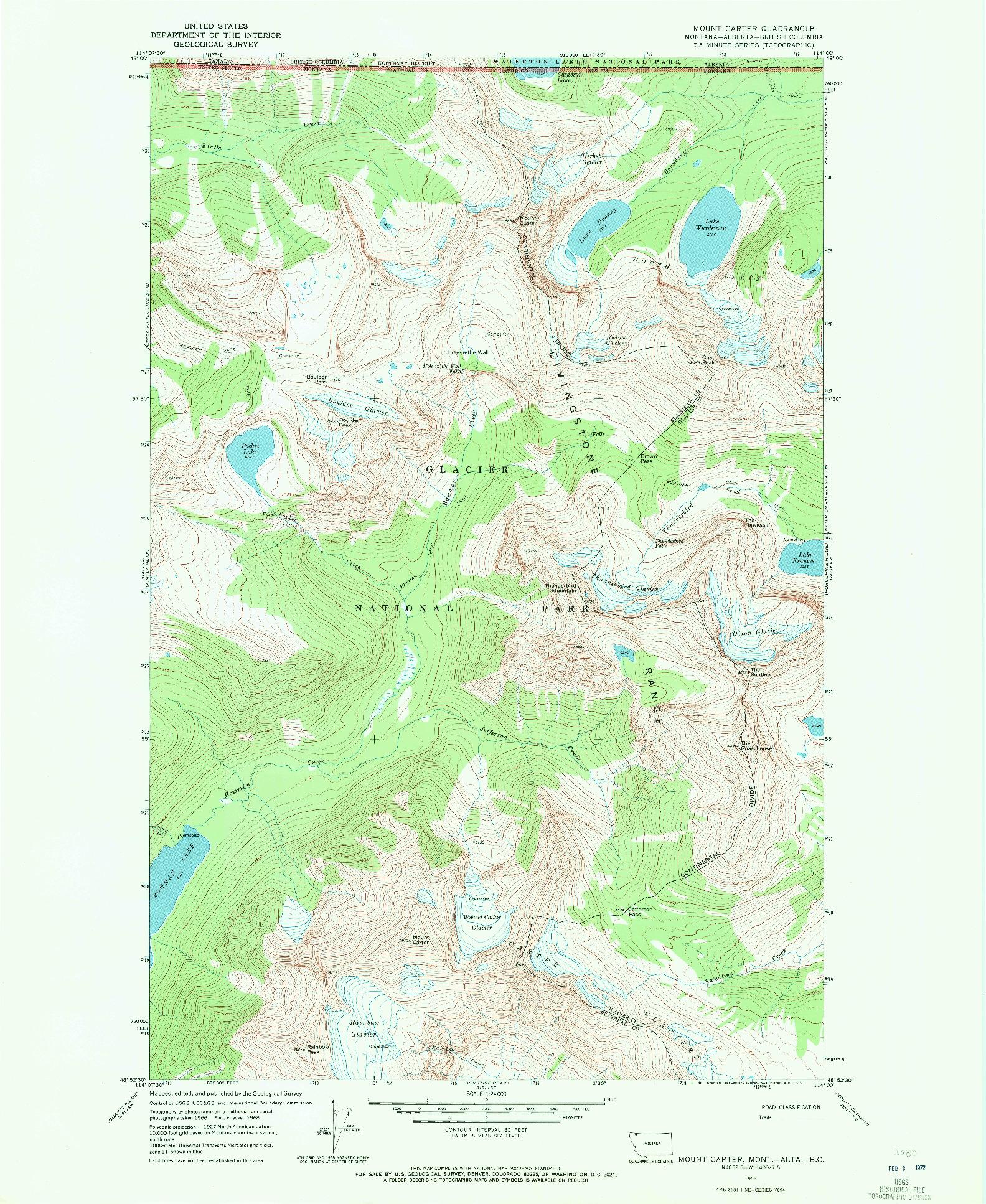 USGS 1:24000-SCALE QUADRANGLE FOR MOUNT CARTER, MT 1968