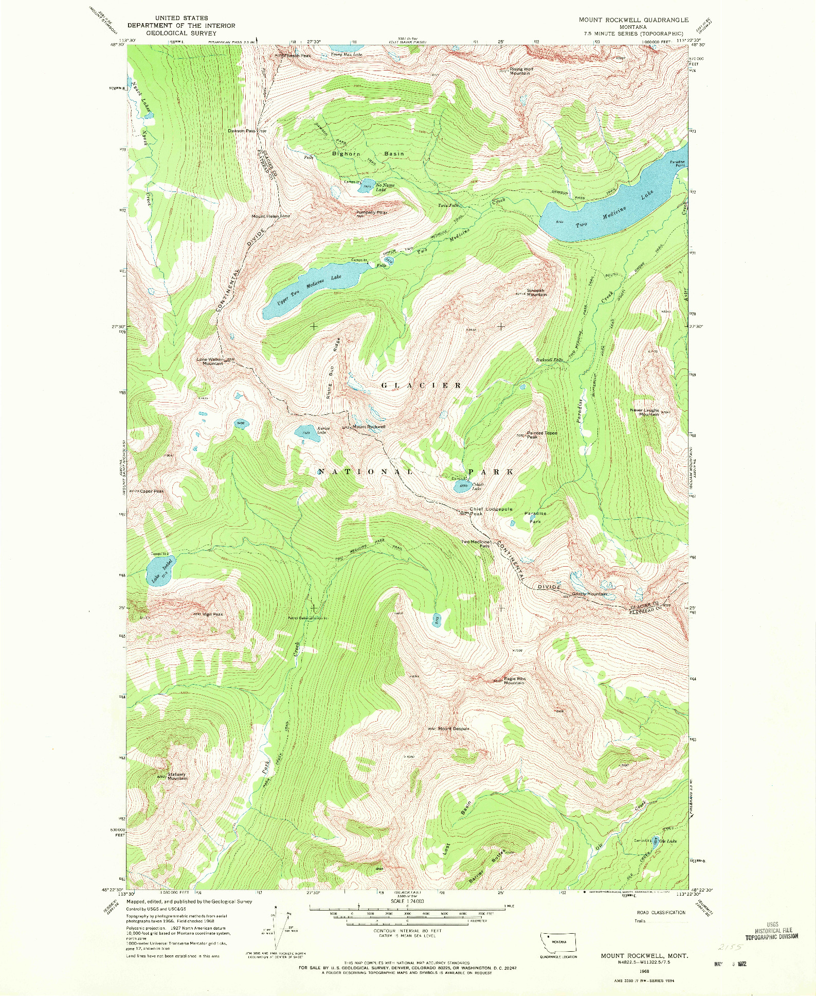 USGS 1:24000-SCALE QUADRANGLE FOR MOUNT ROCKWELL, MT 1968