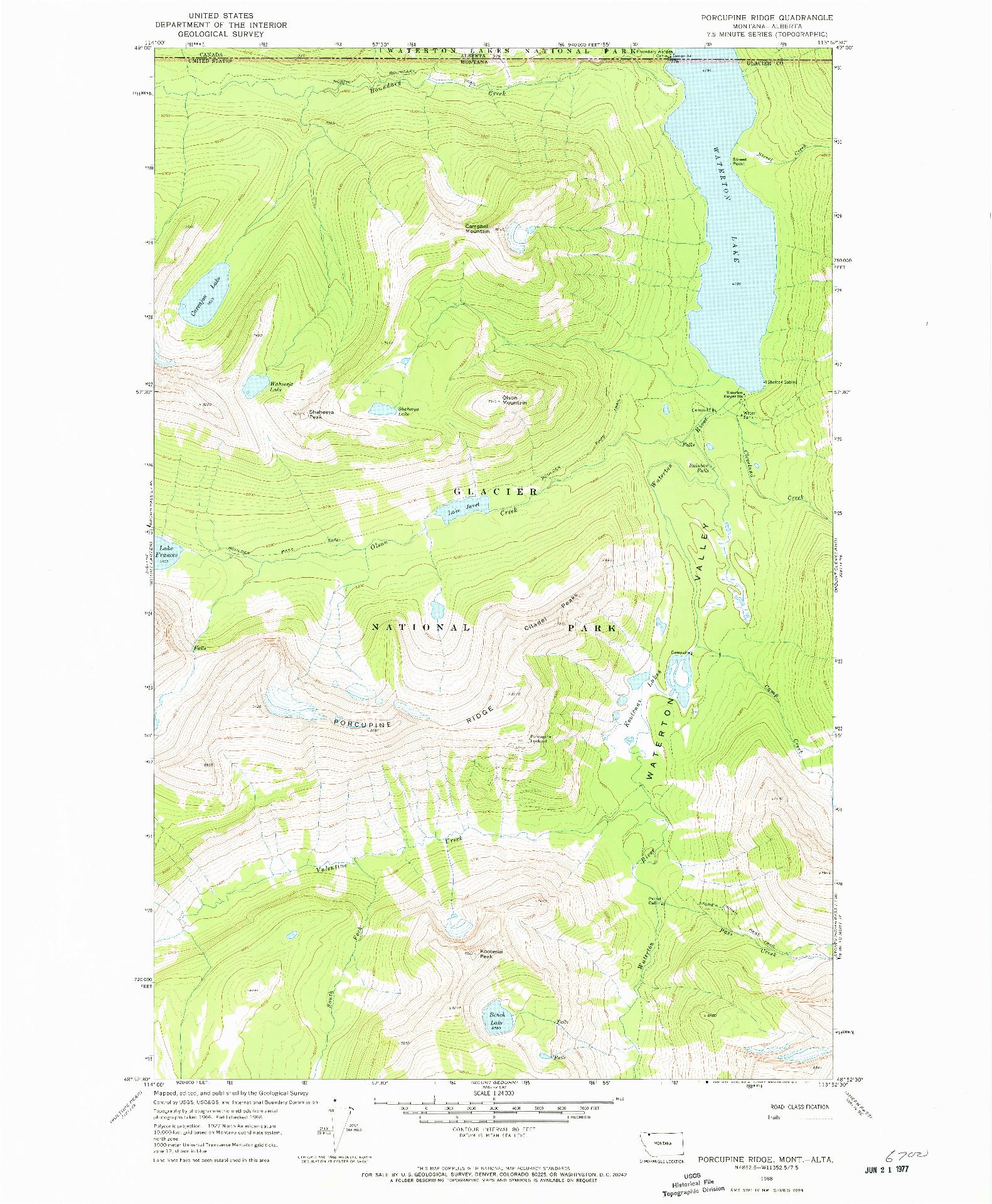 USGS 1:24000-SCALE QUADRANGLE FOR PORCUPINE RIDGE, MT 1968