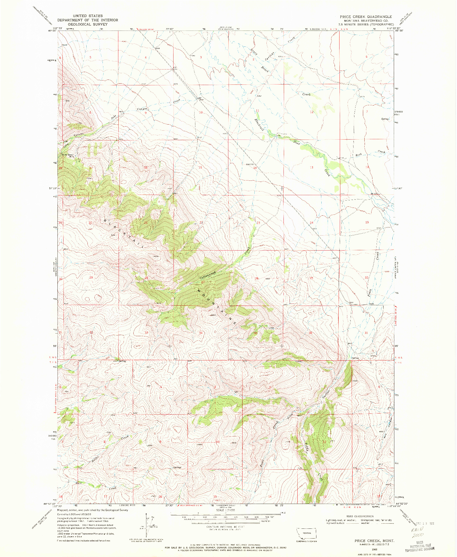 USGS 1:24000-SCALE QUADRANGLE FOR PRICE CREEK, MT 1968