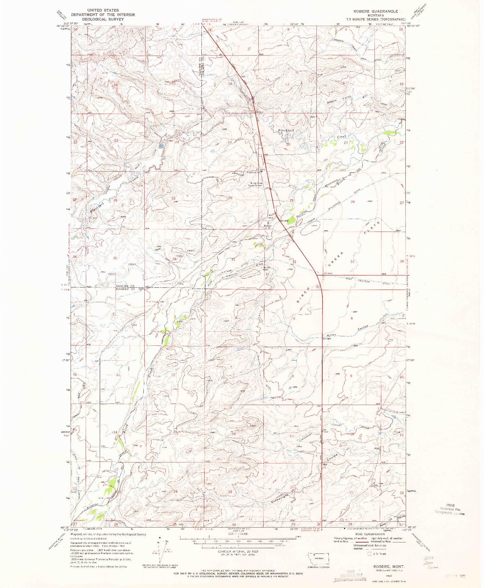 USGS 1:24000-SCALE QUADRANGLE FOR ROBERE, MT 1968