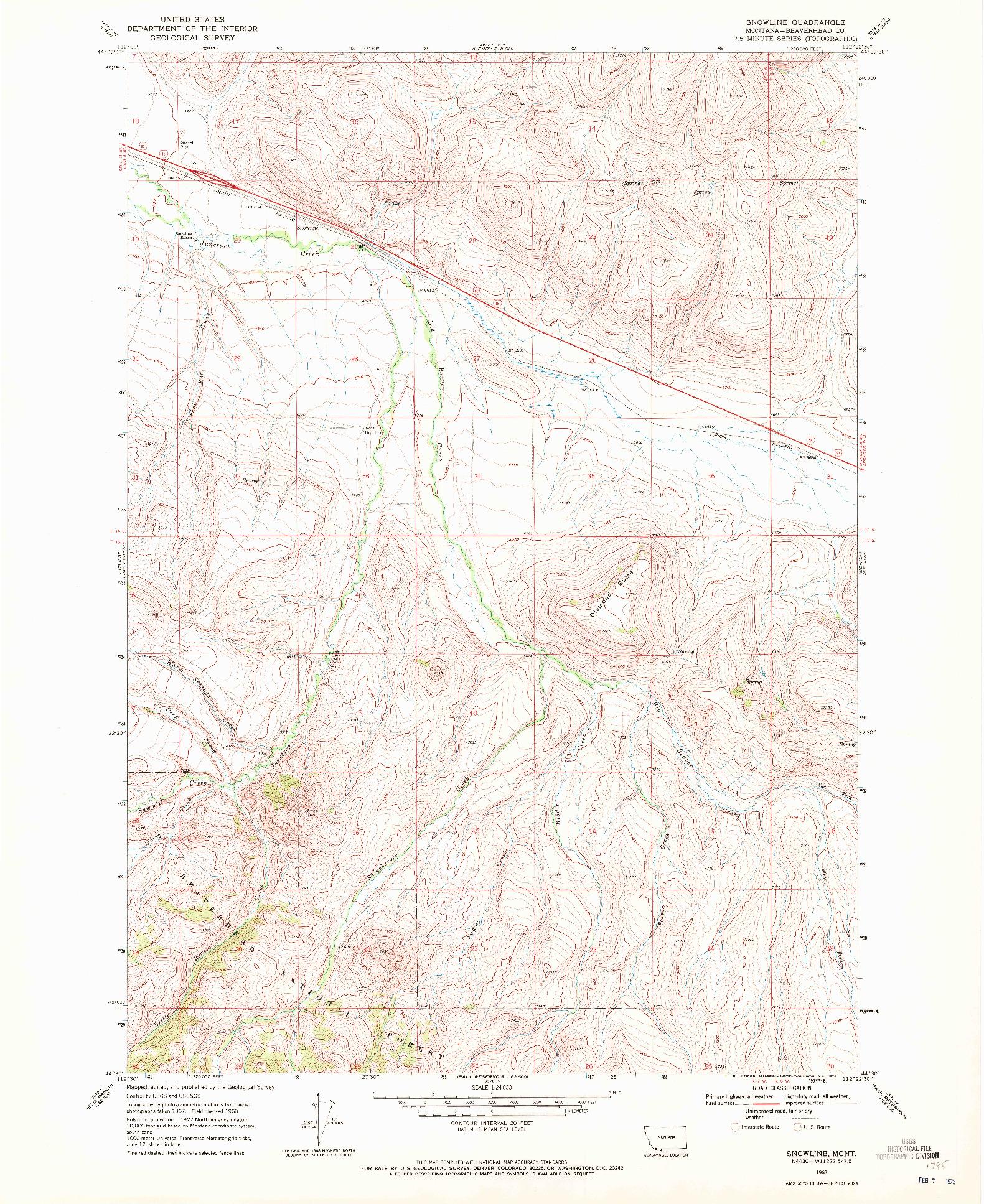 USGS 1:24000-SCALE QUADRANGLE FOR SNOWLINE, MT 1968