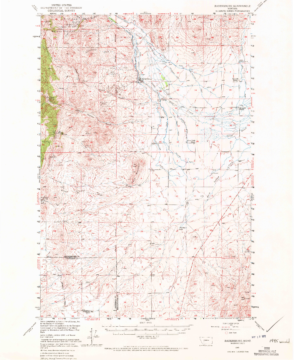 USGS 1:62500-SCALE QUADRANGLE FOR RADERSBURG, MT 1949