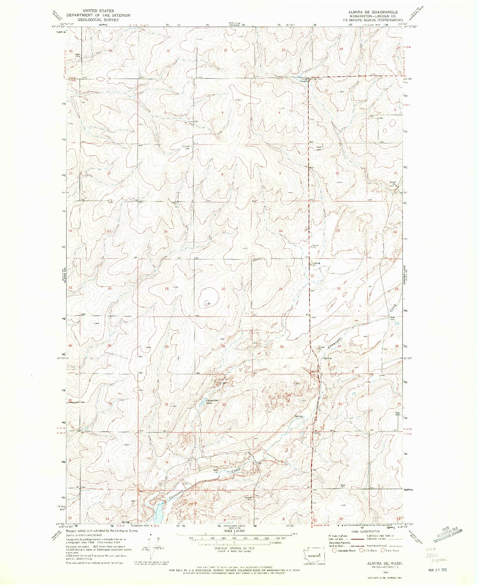 USGS 1:24000-SCALE QUADRANGLE FOR ALMIRA SE, WA 1969
