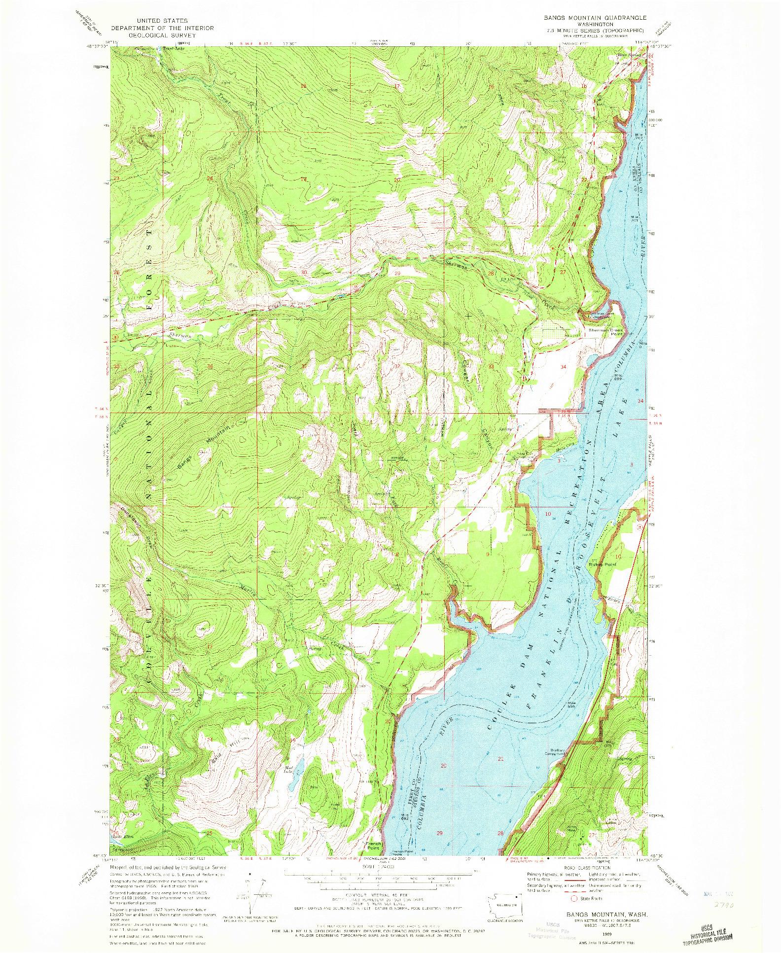 USGS 1:24000-SCALE QUADRANGLE FOR BANGS MOUNTAIN, WA 1969
