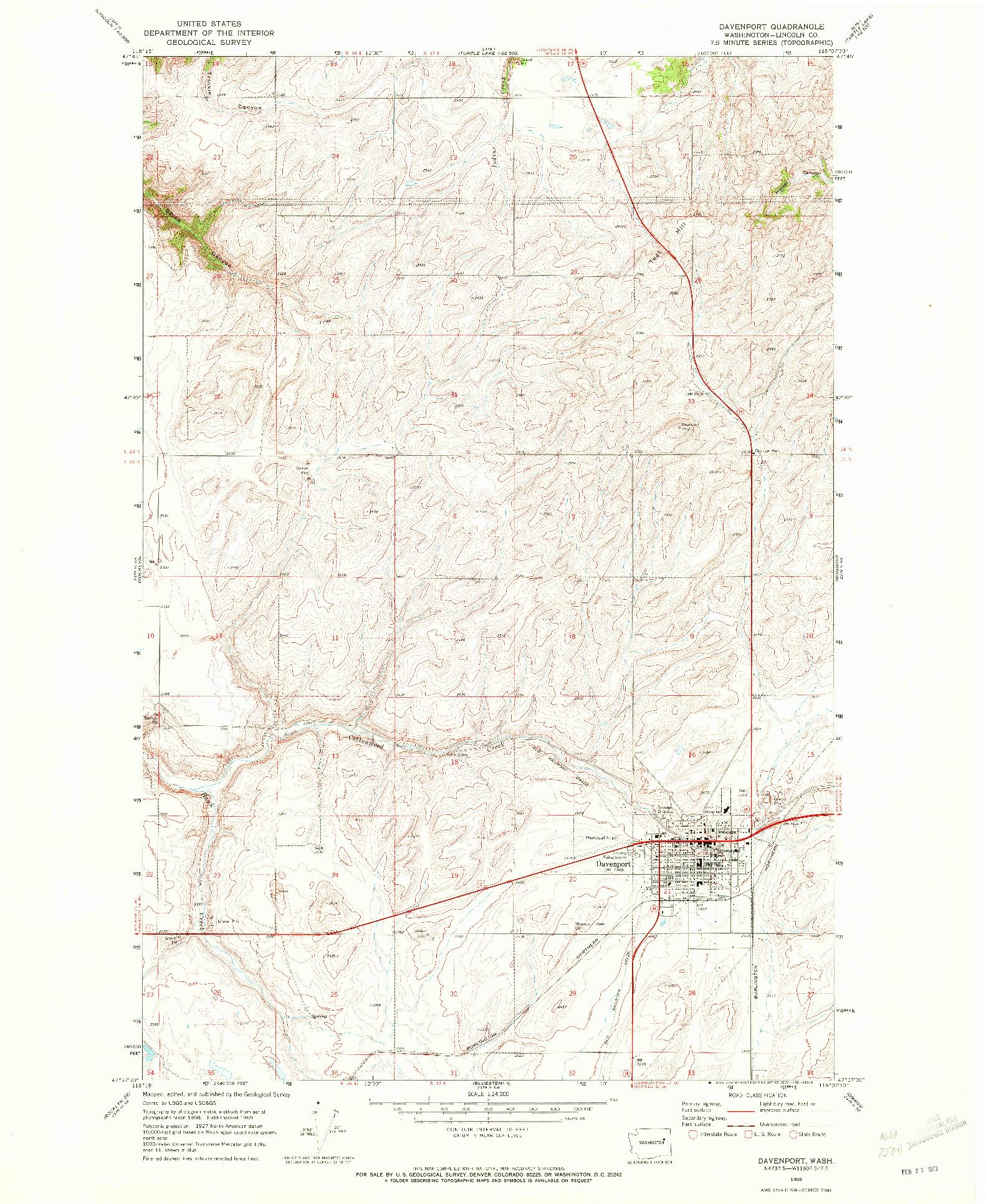 USGS 1:24000-SCALE QUADRANGLE FOR DAVENPORT, WA 1969