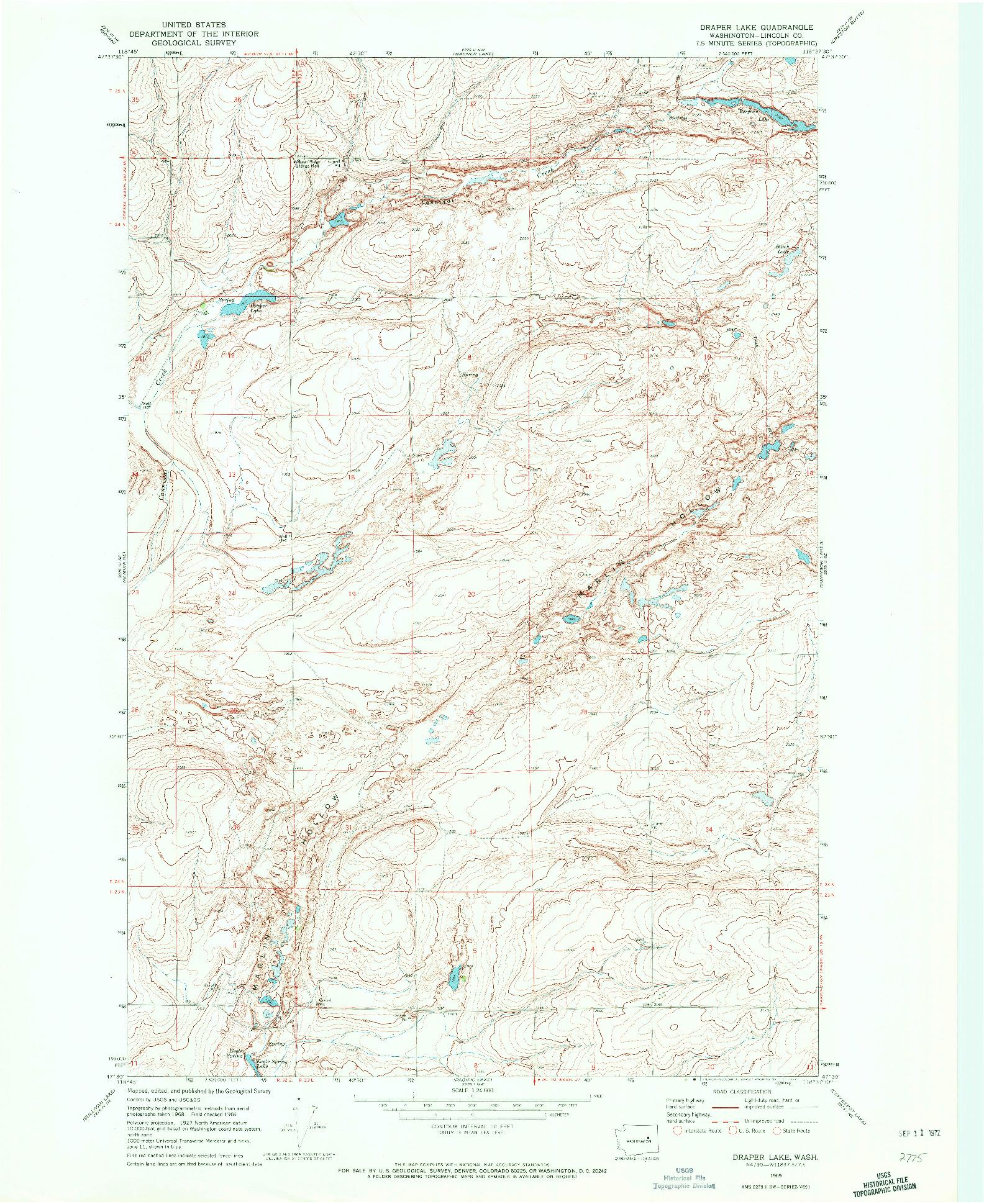 USGS 1:24000-SCALE QUADRANGLE FOR DRAPER LAKE, WA 1969