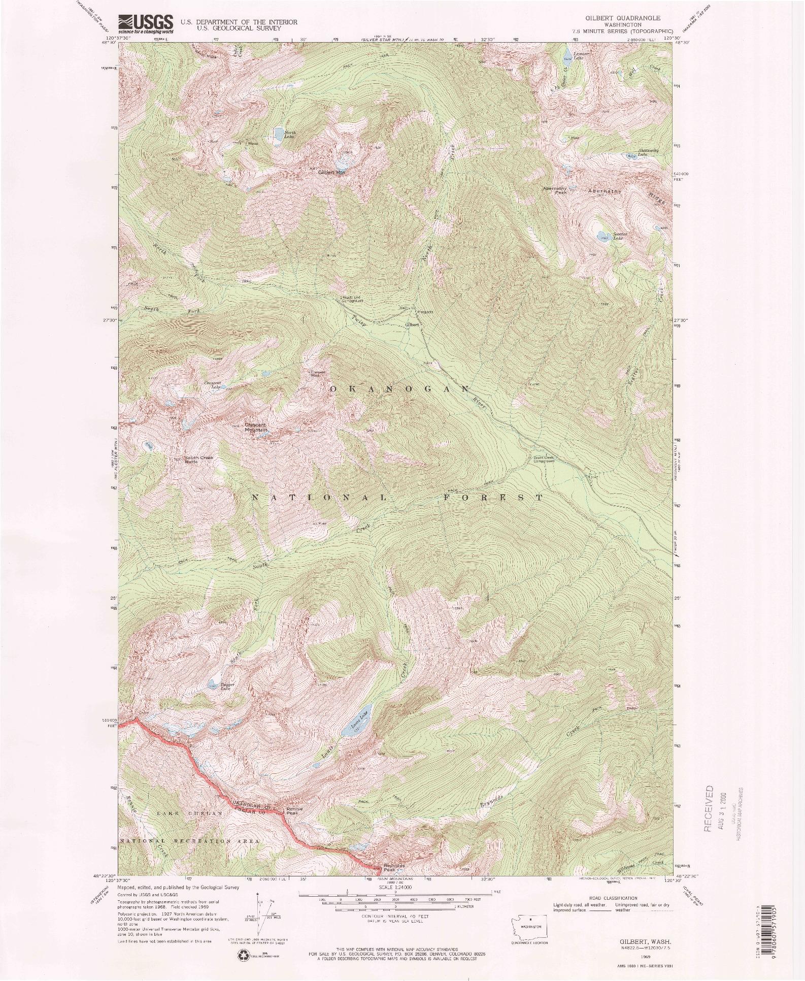 USGS 1:24000-SCALE QUADRANGLE FOR GILBERT, WA 1969
