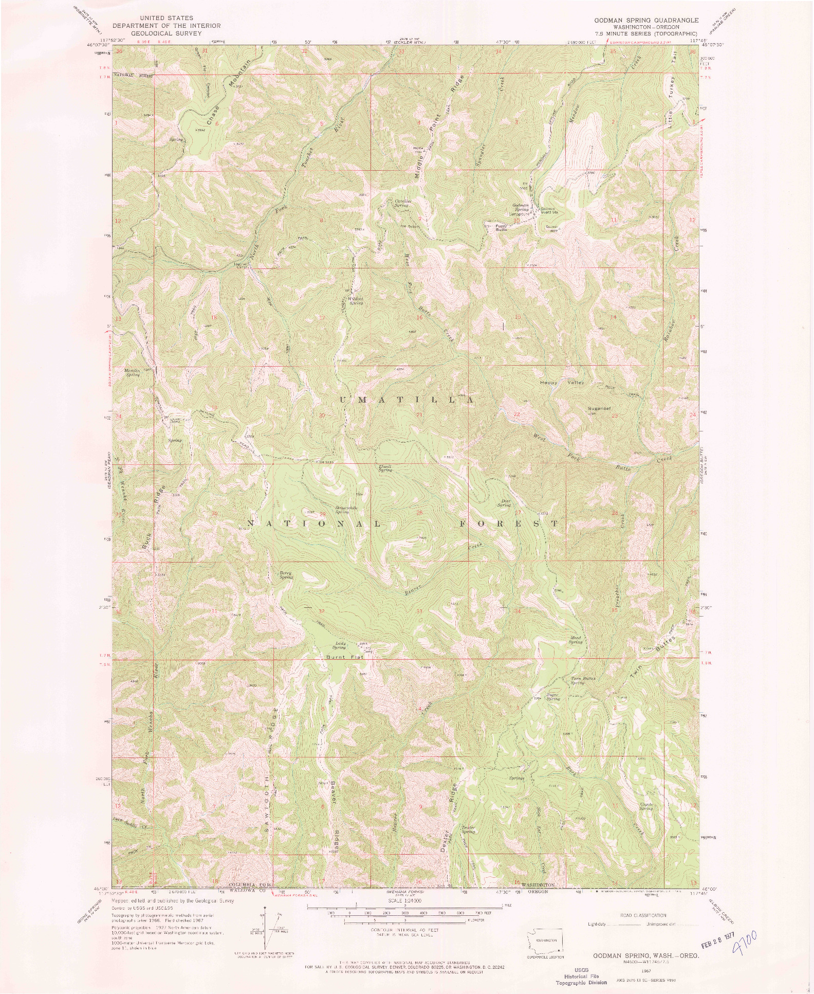 USGS 1:24000-SCALE QUADRANGLE FOR GODMAN SPRING, WA 1967