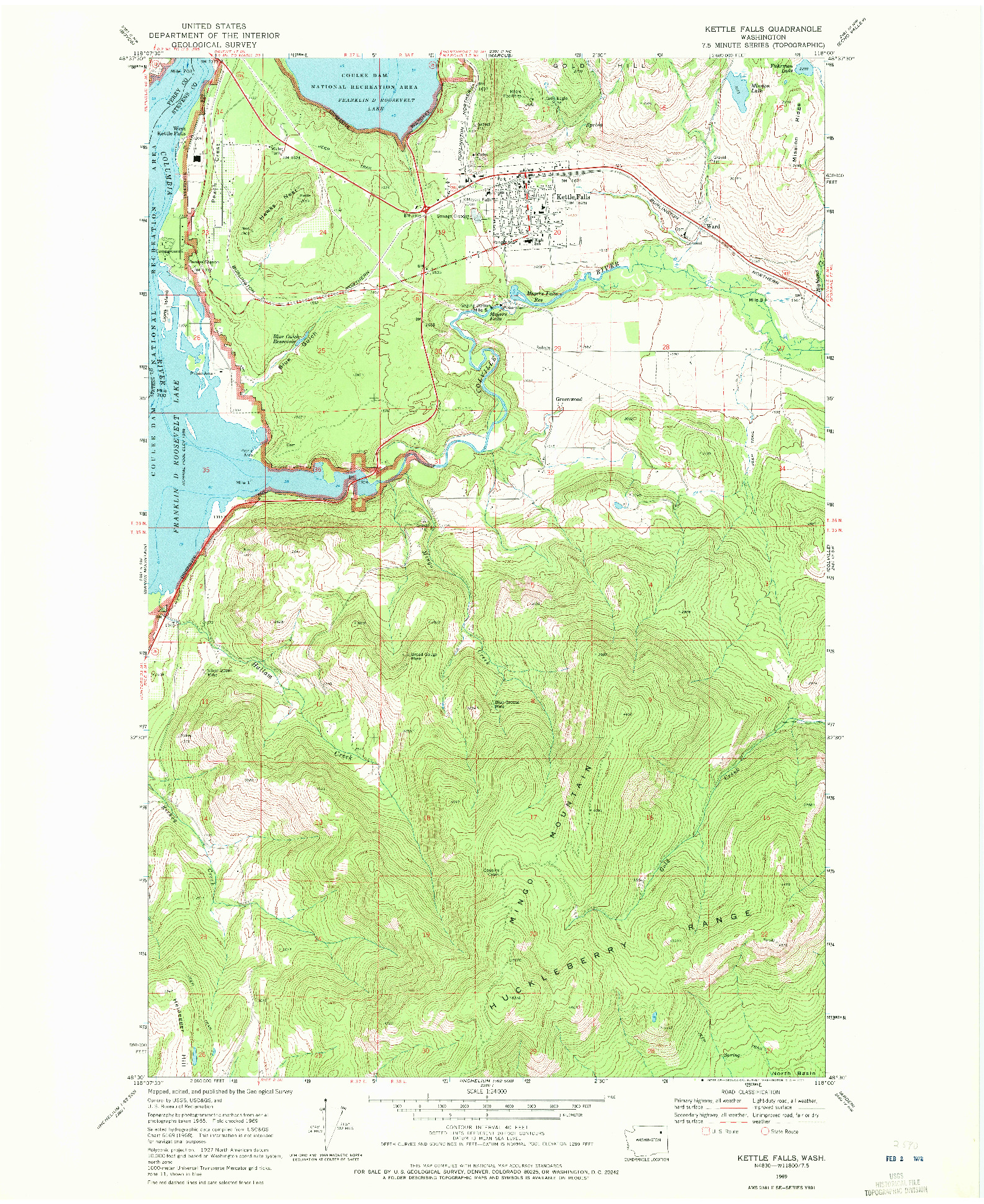 USGS 1:24000-SCALE QUADRANGLE FOR KETTLE FALLS, WA 1969