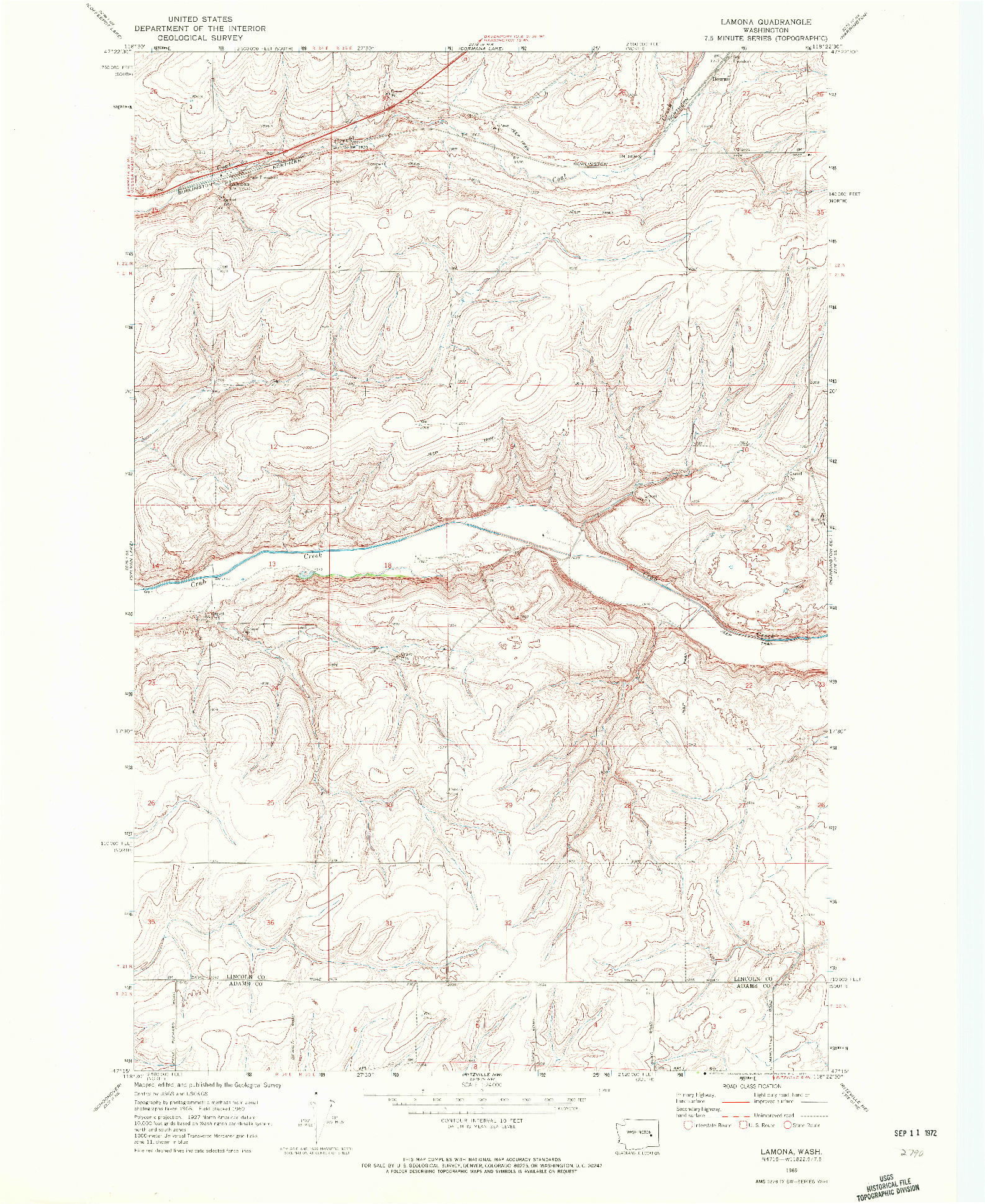 USGS 1:24000-SCALE QUADRANGLE FOR LAMONA, WA 1969