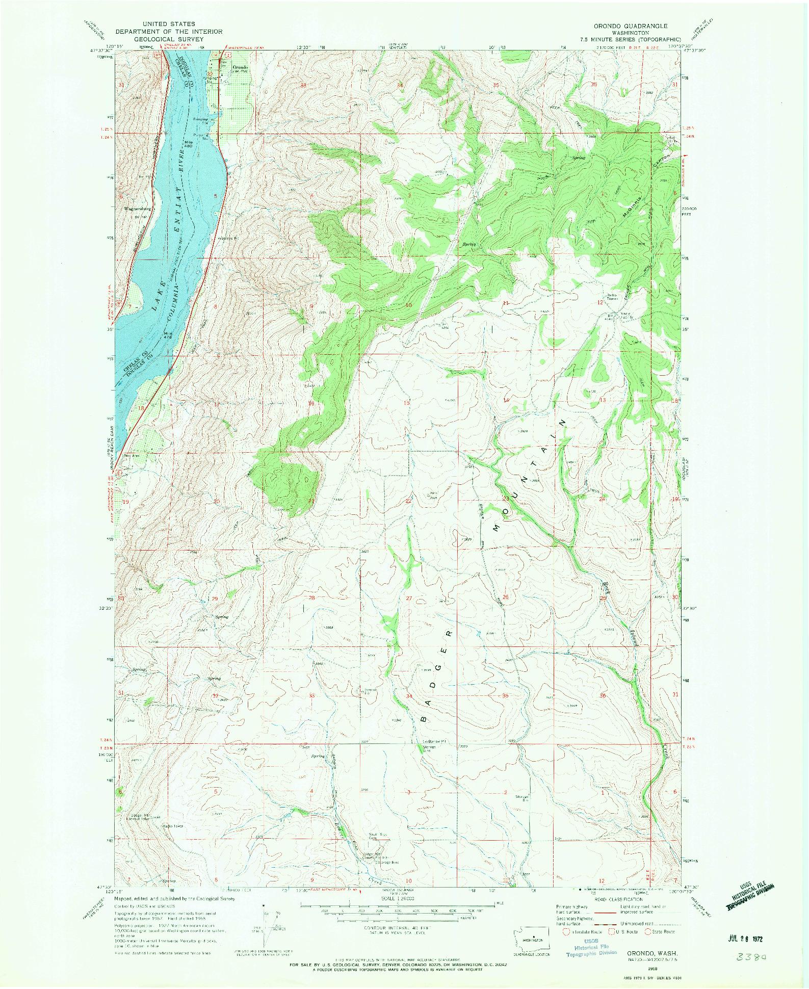USGS 1:24000-SCALE QUADRANGLE FOR ORONDO, WA 1968