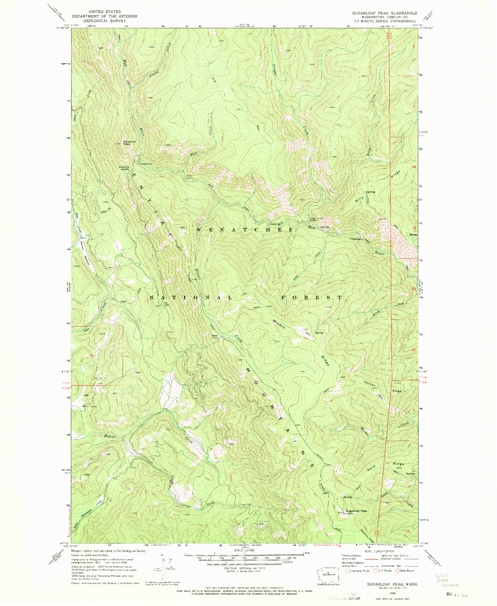 USGS 1:24000-SCALE QUADRANGLE FOR SUGARLOAF PEAK, WA 1968
