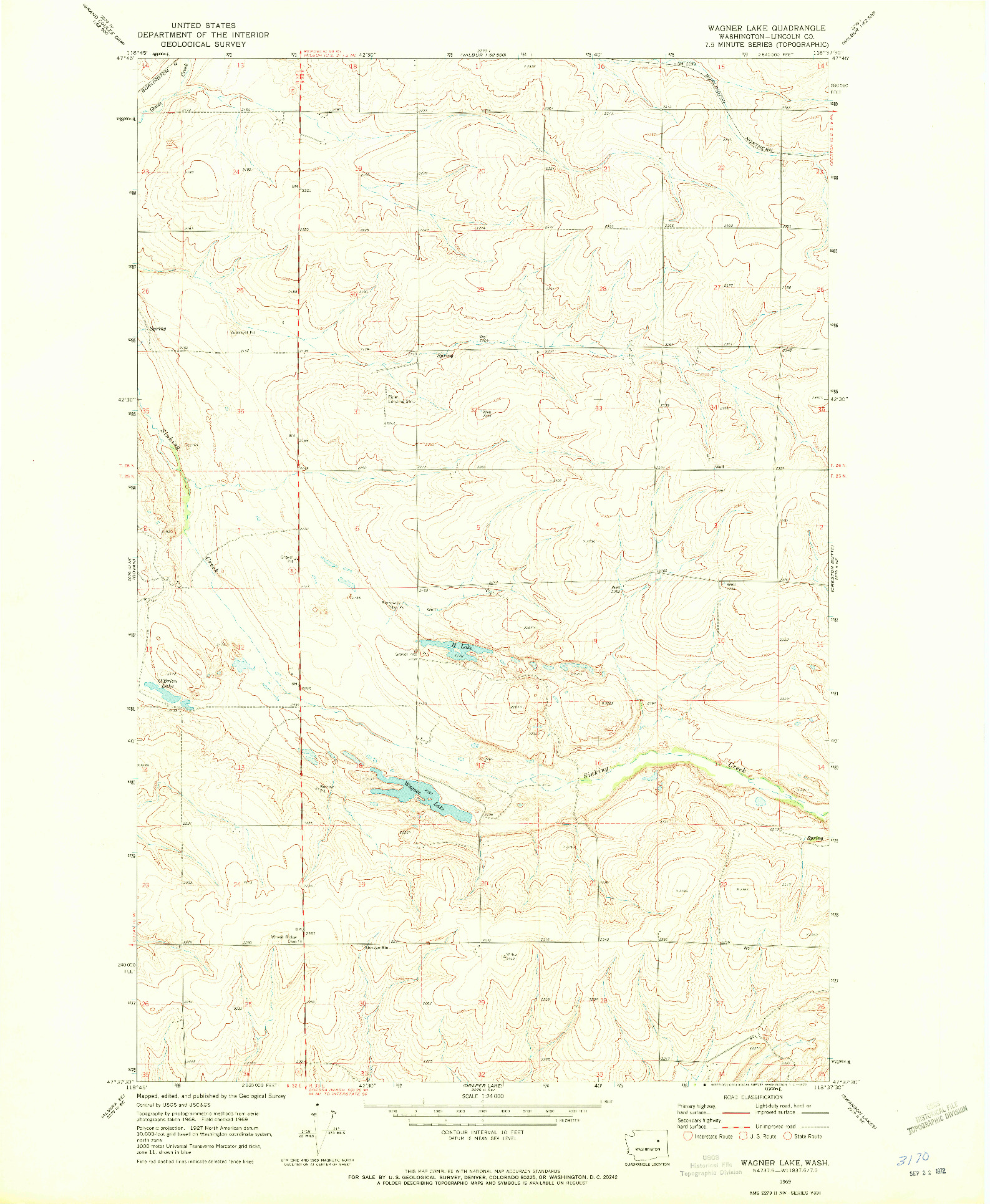 USGS 1:24000-SCALE QUADRANGLE FOR WAGNER LAKE, WA 1969