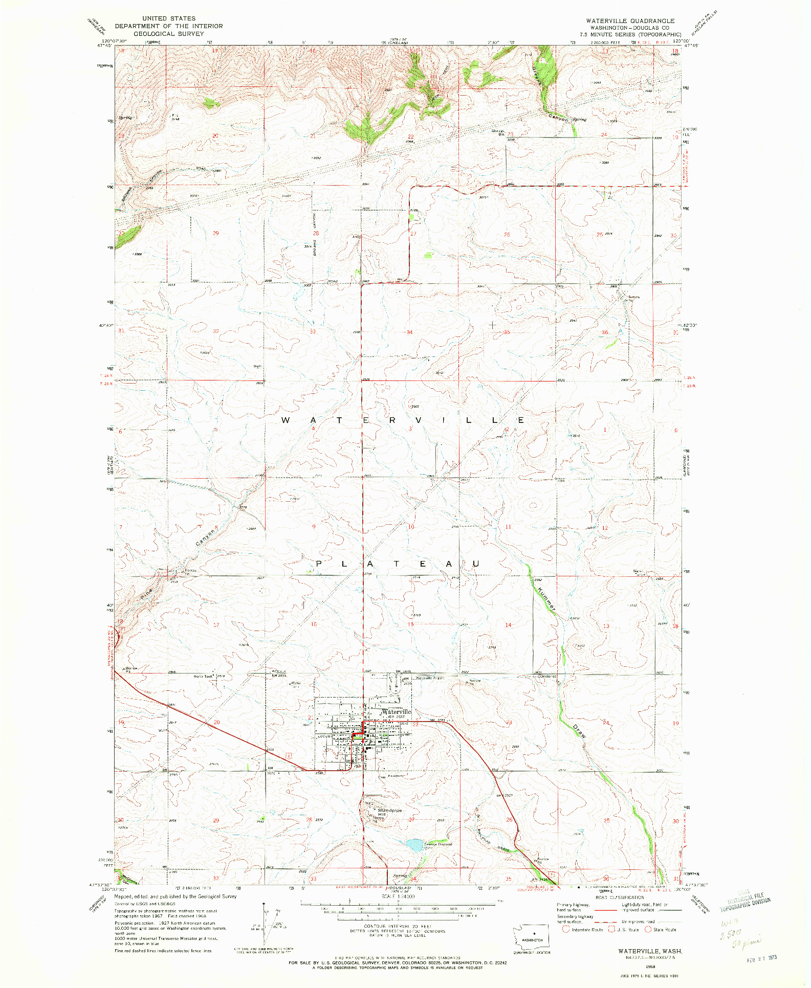 USGS 1:24000-SCALE QUADRANGLE FOR WATERVILLE, WA 1968