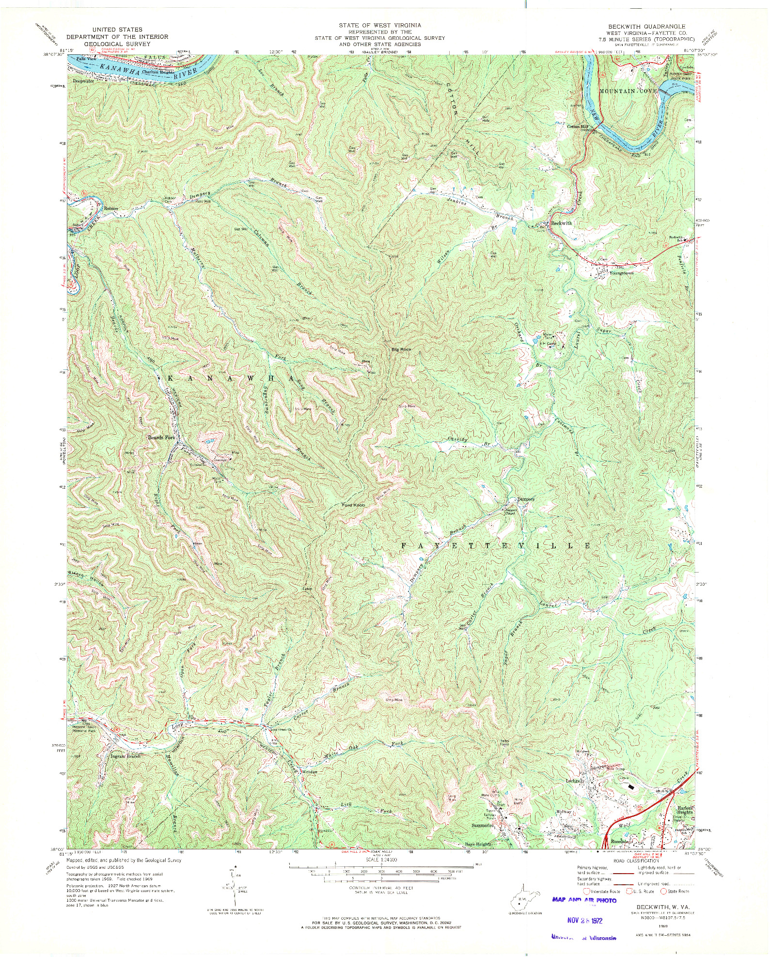 USGS 1:24000-SCALE QUADRANGLE FOR BECKWITH, WV 1969