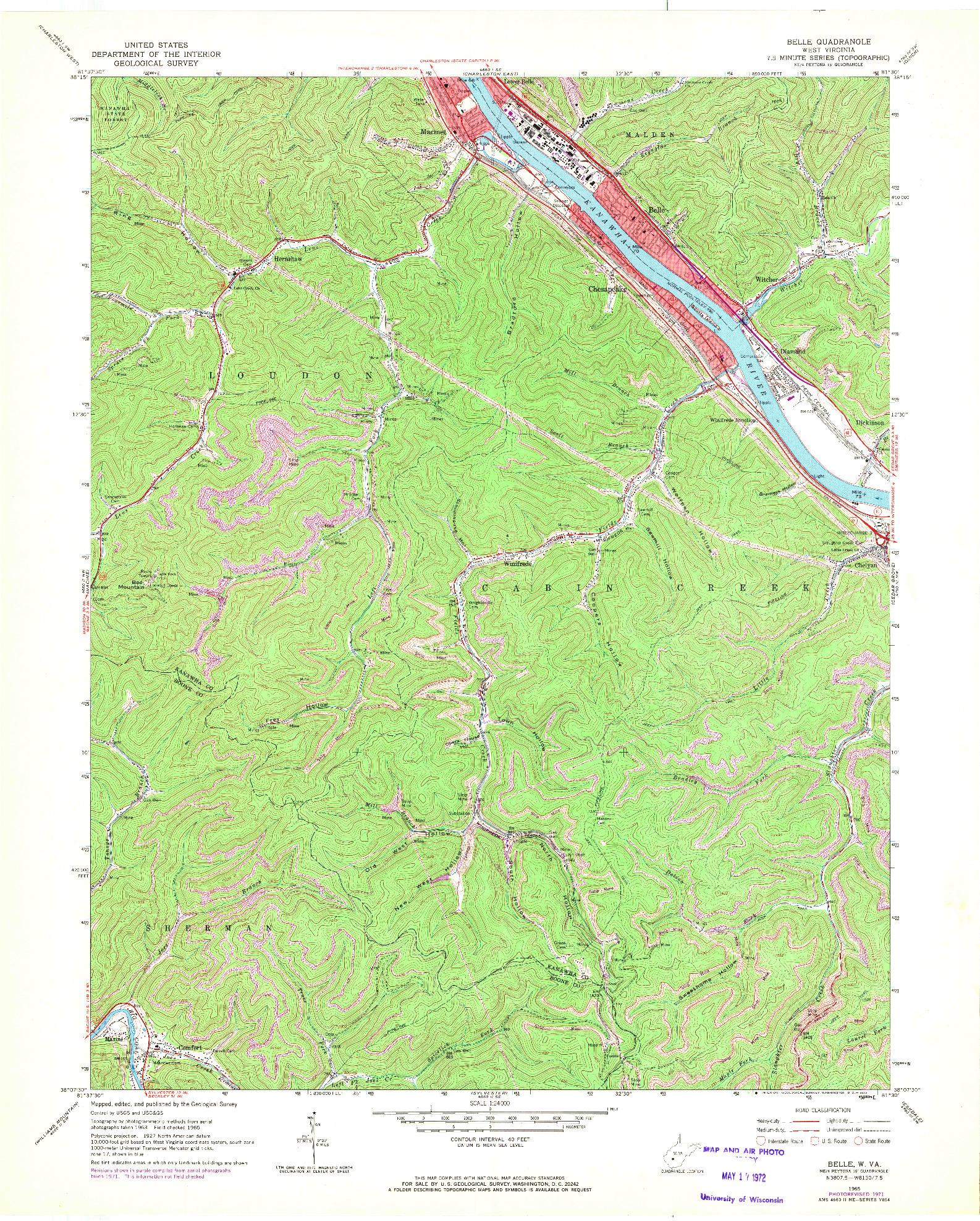 USGS 1:24000-SCALE QUADRANGLE FOR BELLE, WV 1965