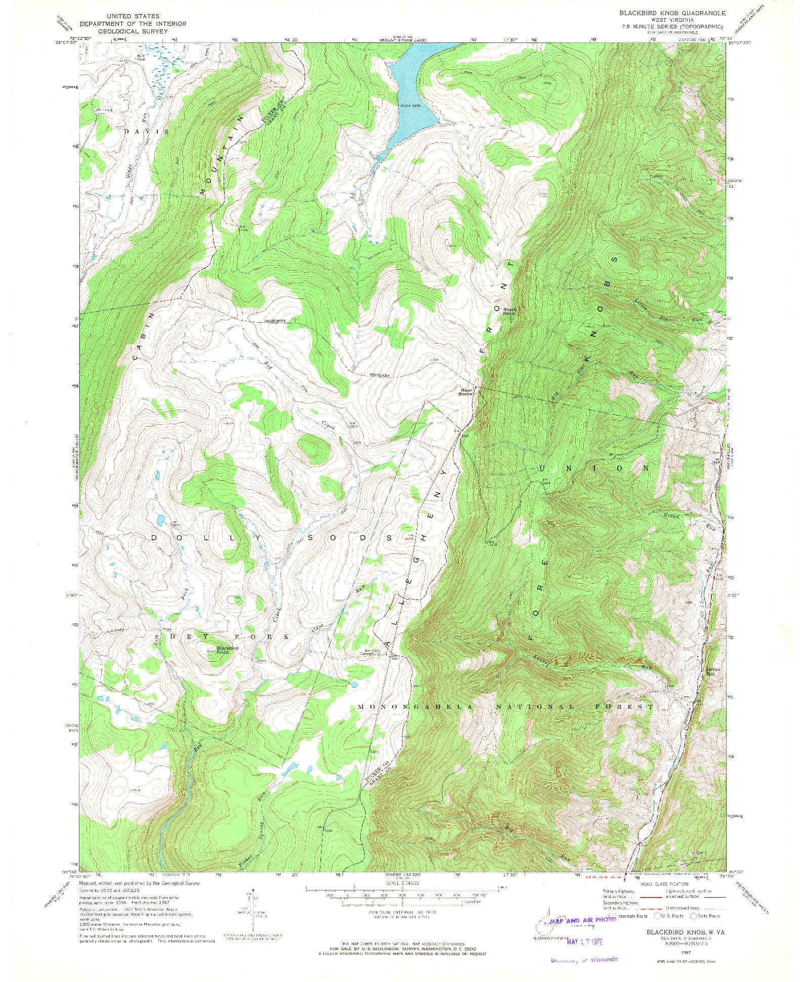 USGS 1:24000-SCALE QUADRANGLE FOR BLACKBIRD KNOB, WV 1967