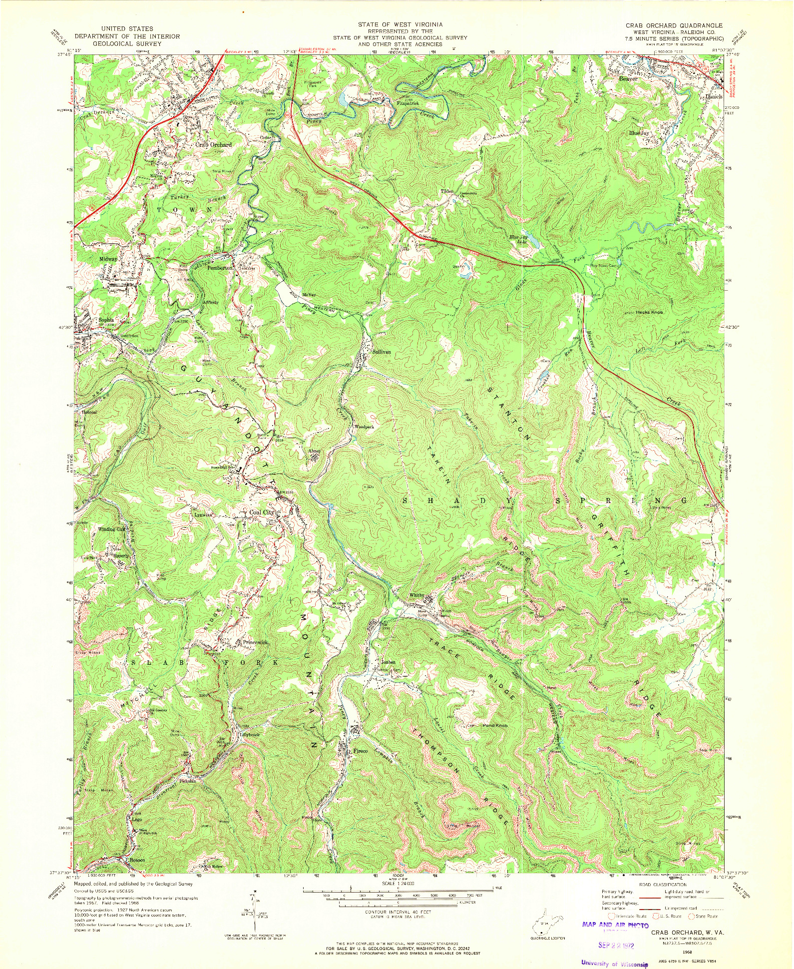 USGS 1:24000-SCALE QUADRANGLE FOR CRAB ORCHARD, WV 1968
