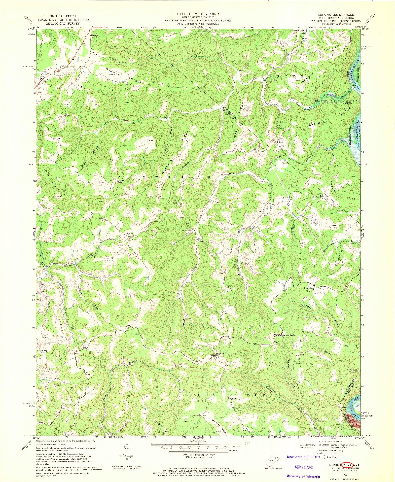 USGS 1:24000-SCALE QUADRANGLE FOR LERONA, WV 1968