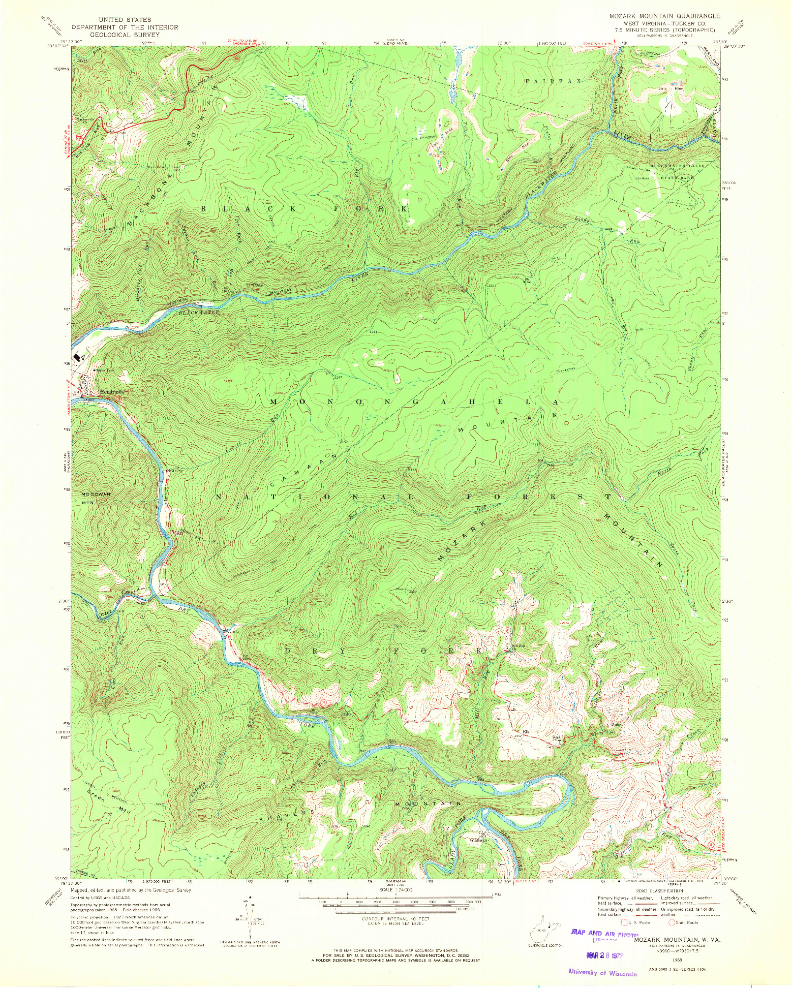 USGS 1:24000-SCALE QUADRANGLE FOR MOZARK MOUNTAIN, WV 1968