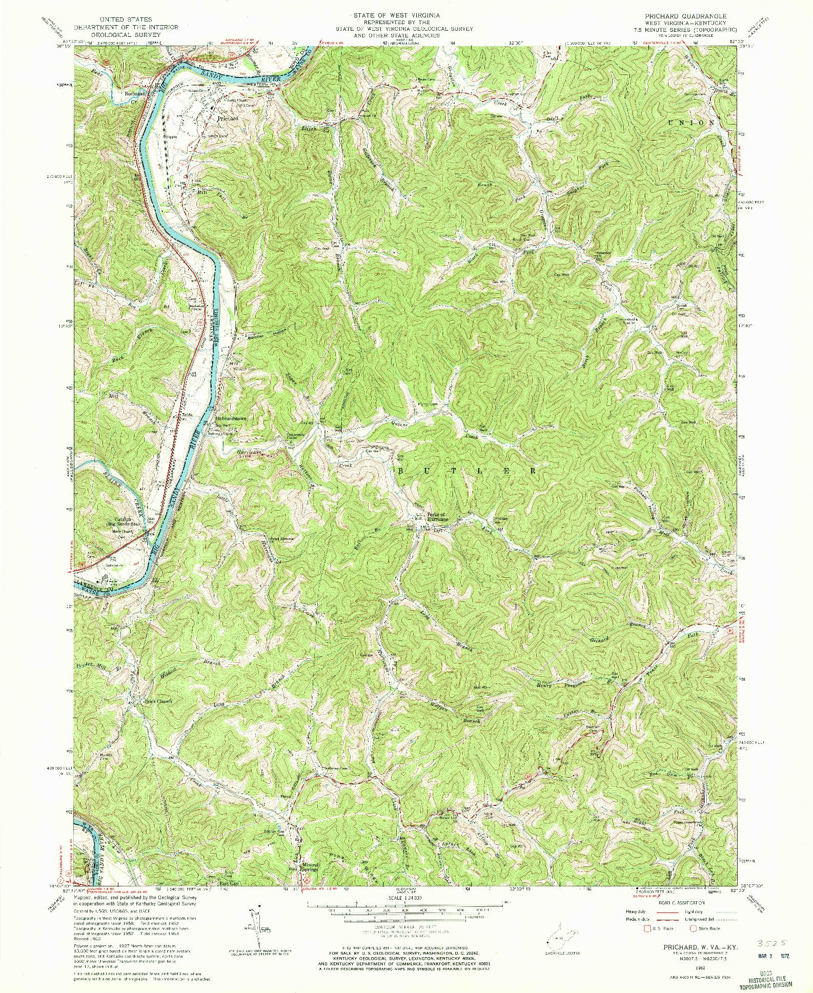 USGS 1:24000-SCALE QUADRANGLE FOR PRICHARD, WV 1962
