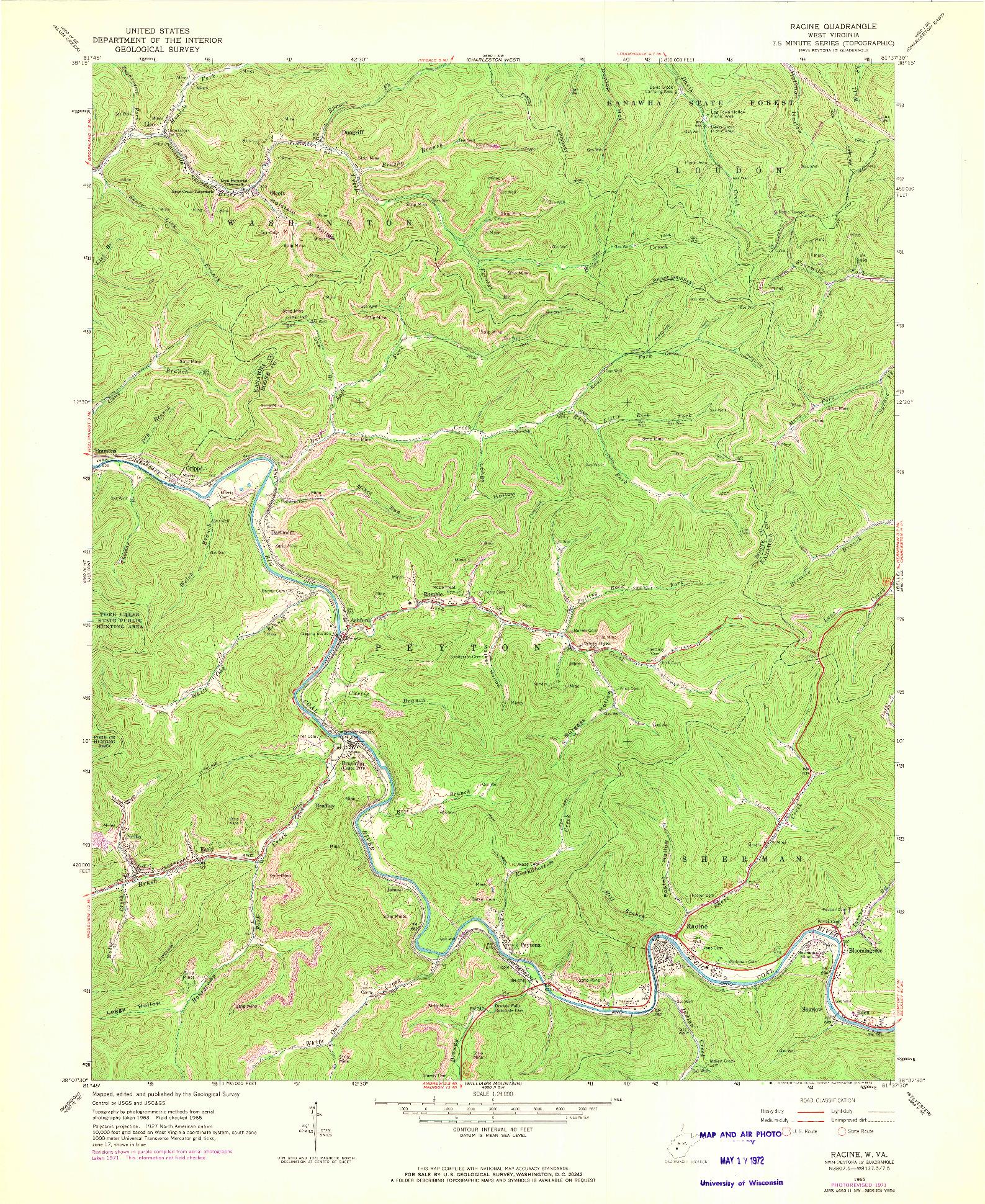 USGS 1:24000-SCALE QUADRANGLE FOR RACINE, WV 1965