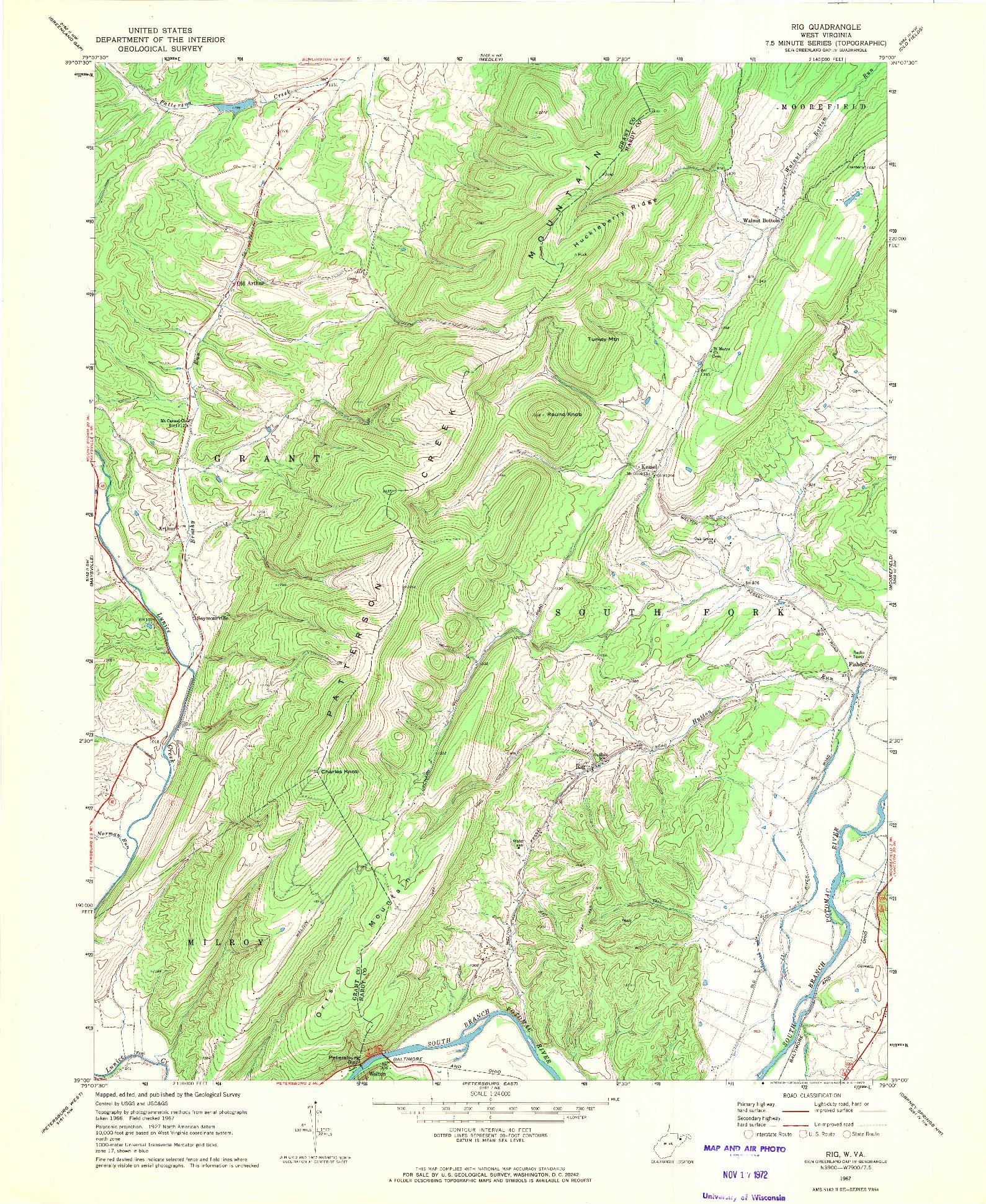 USGS 1:24000-SCALE QUADRANGLE FOR RIG, WV 1967