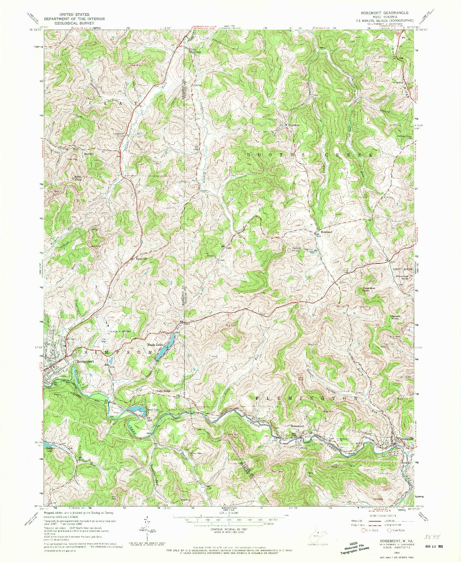 USGS 1:24000-SCALE QUADRANGLE FOR ROSEMONT, WV 1960