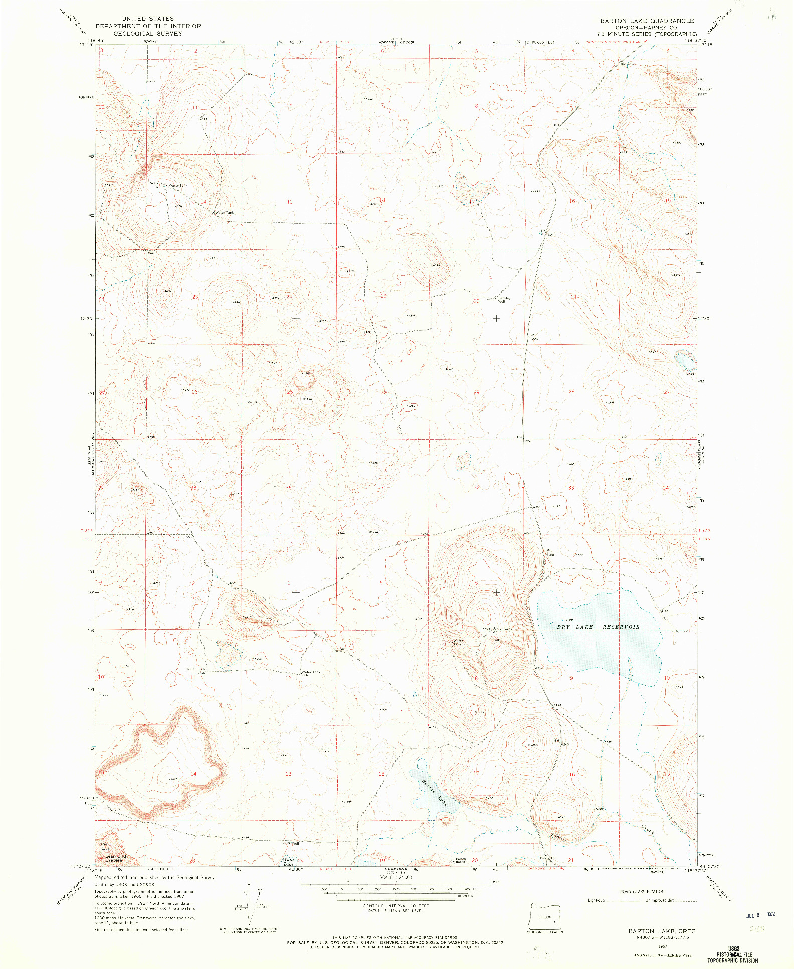 USGS 1:24000-SCALE QUADRANGLE FOR BARTON LAKE, OR 1967
