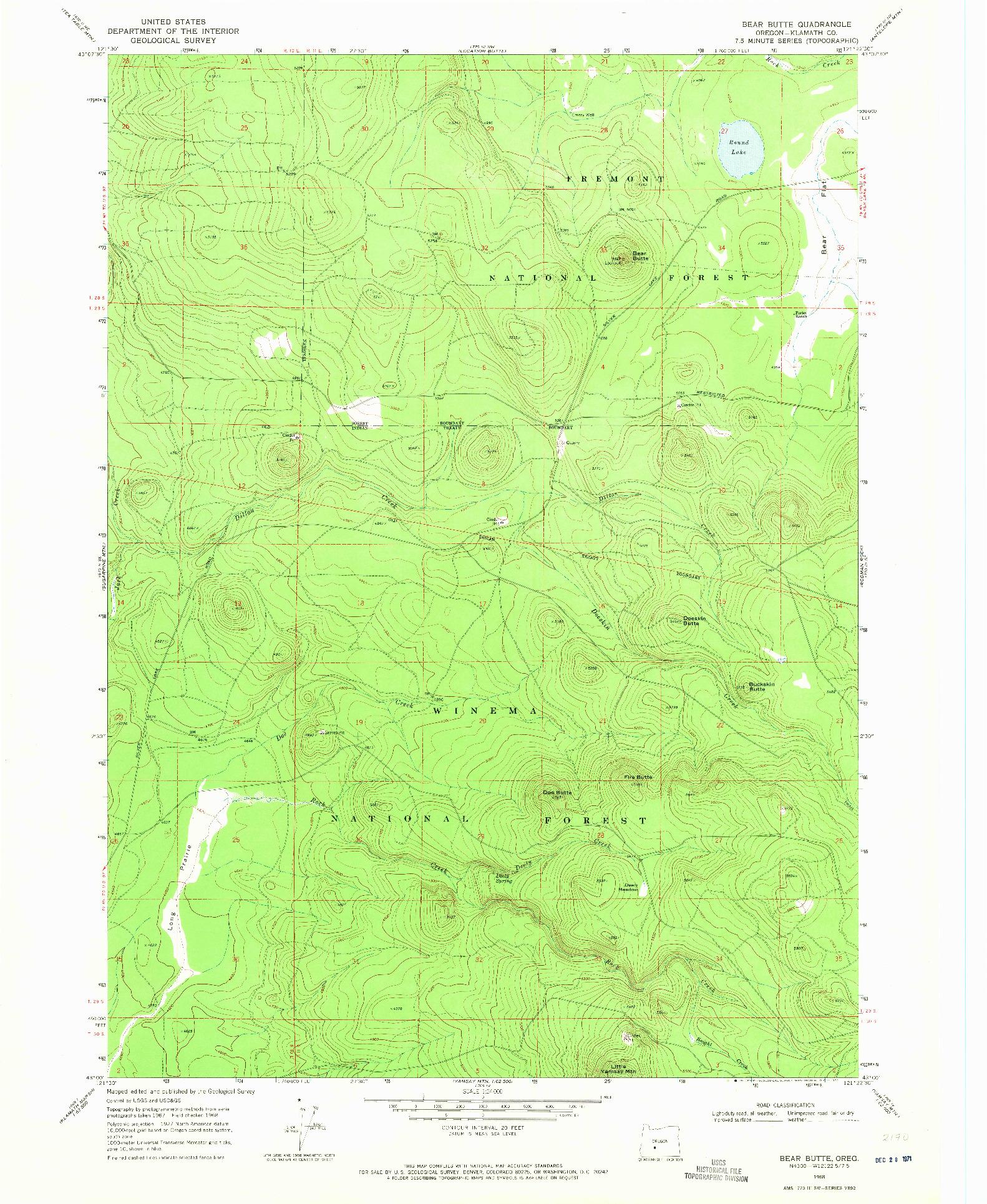 USGS 1:24000-SCALE QUADRANGLE FOR BEAR BUTTE, OR 1968