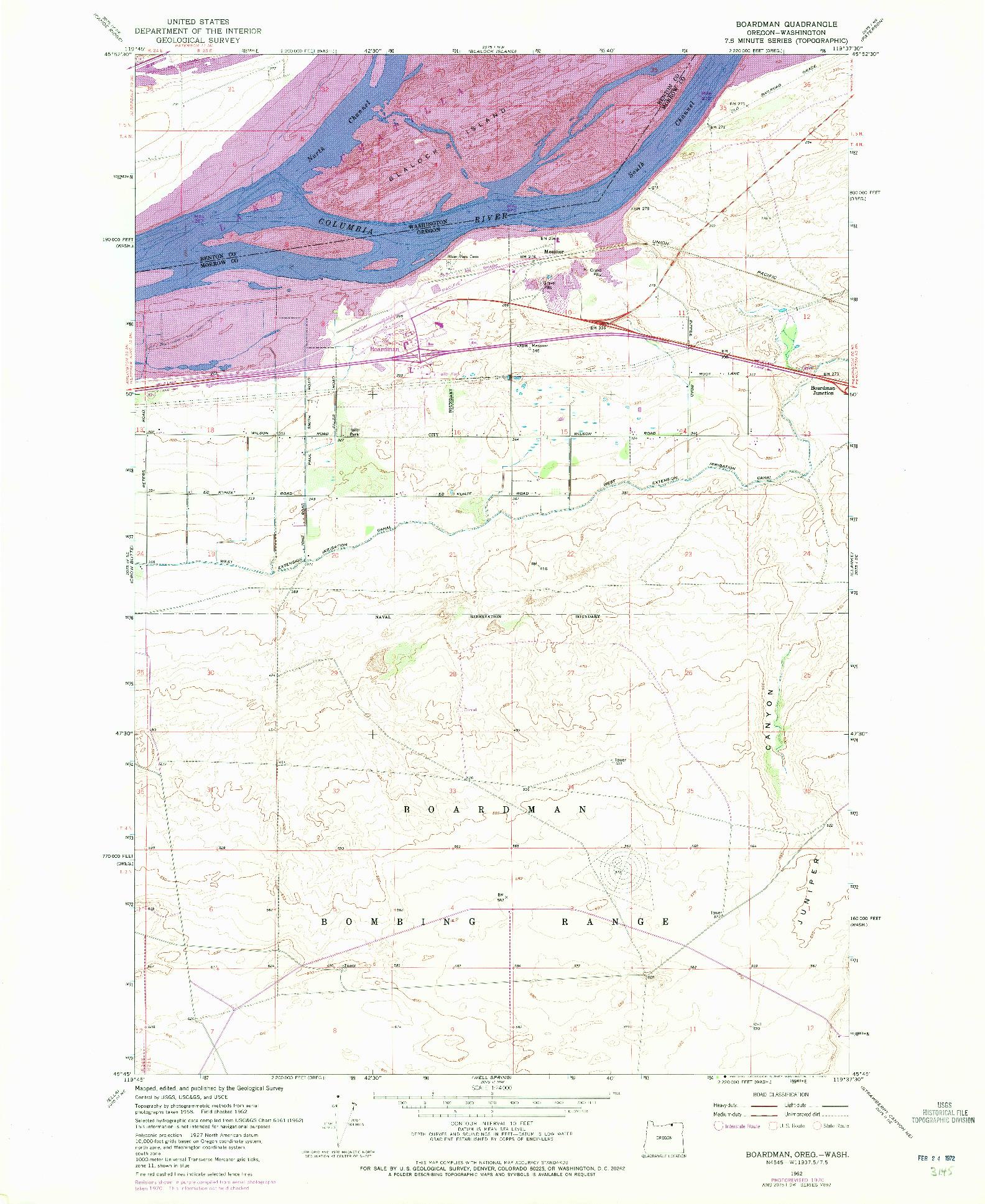 USGS 1:24000-SCALE QUADRANGLE FOR BOARDMAN, OR 1962