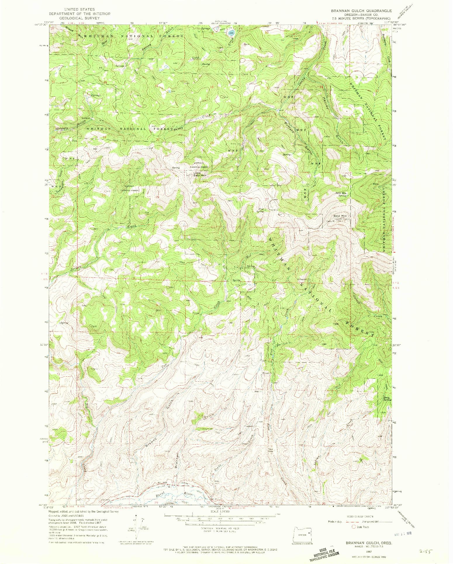 USGS 1:24000-SCALE QUADRANGLE FOR BRANNAN GULCH, OR 1967