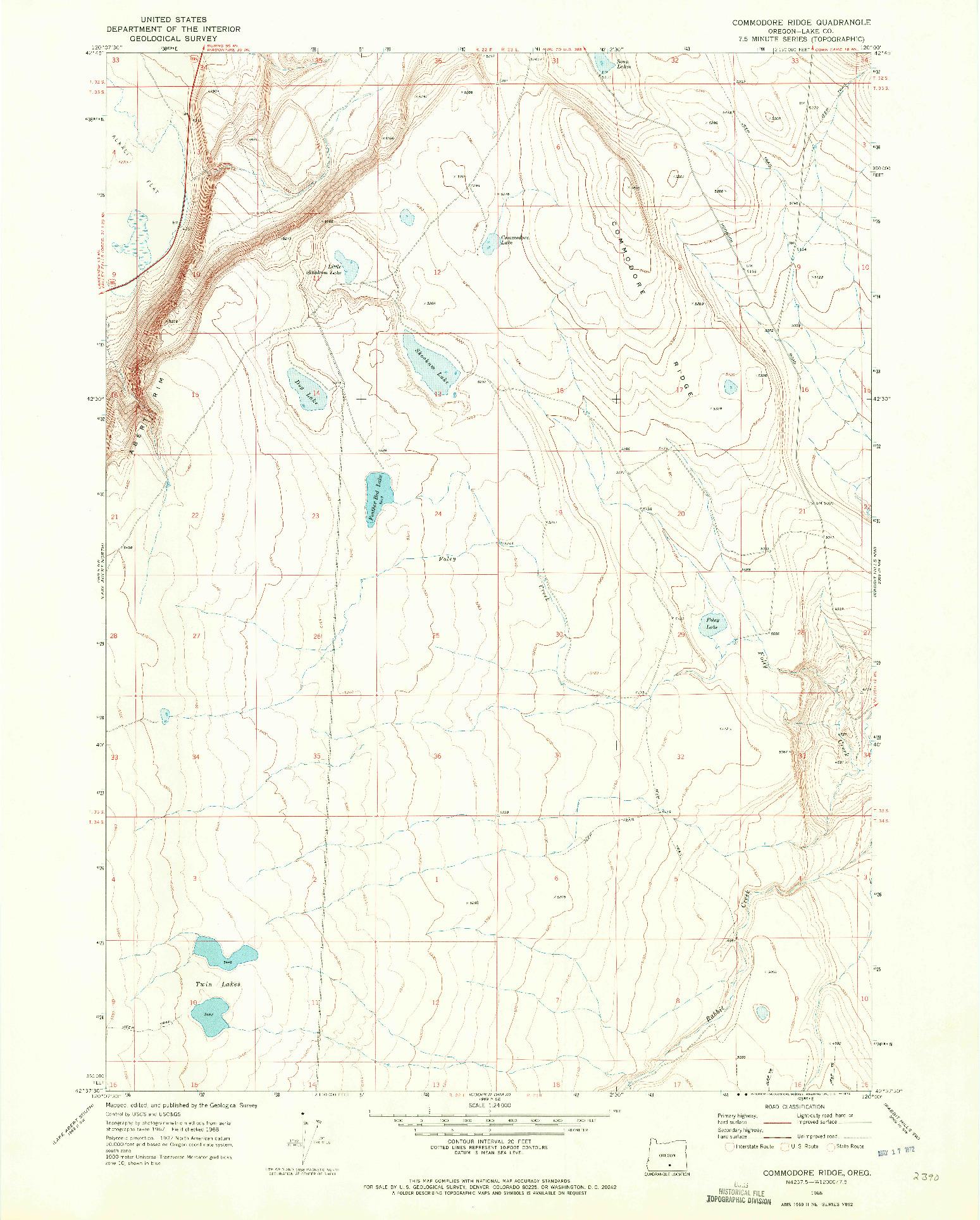 USGS 1:24000-SCALE QUADRANGLE FOR COMMODORE RIDGE, OR 1968