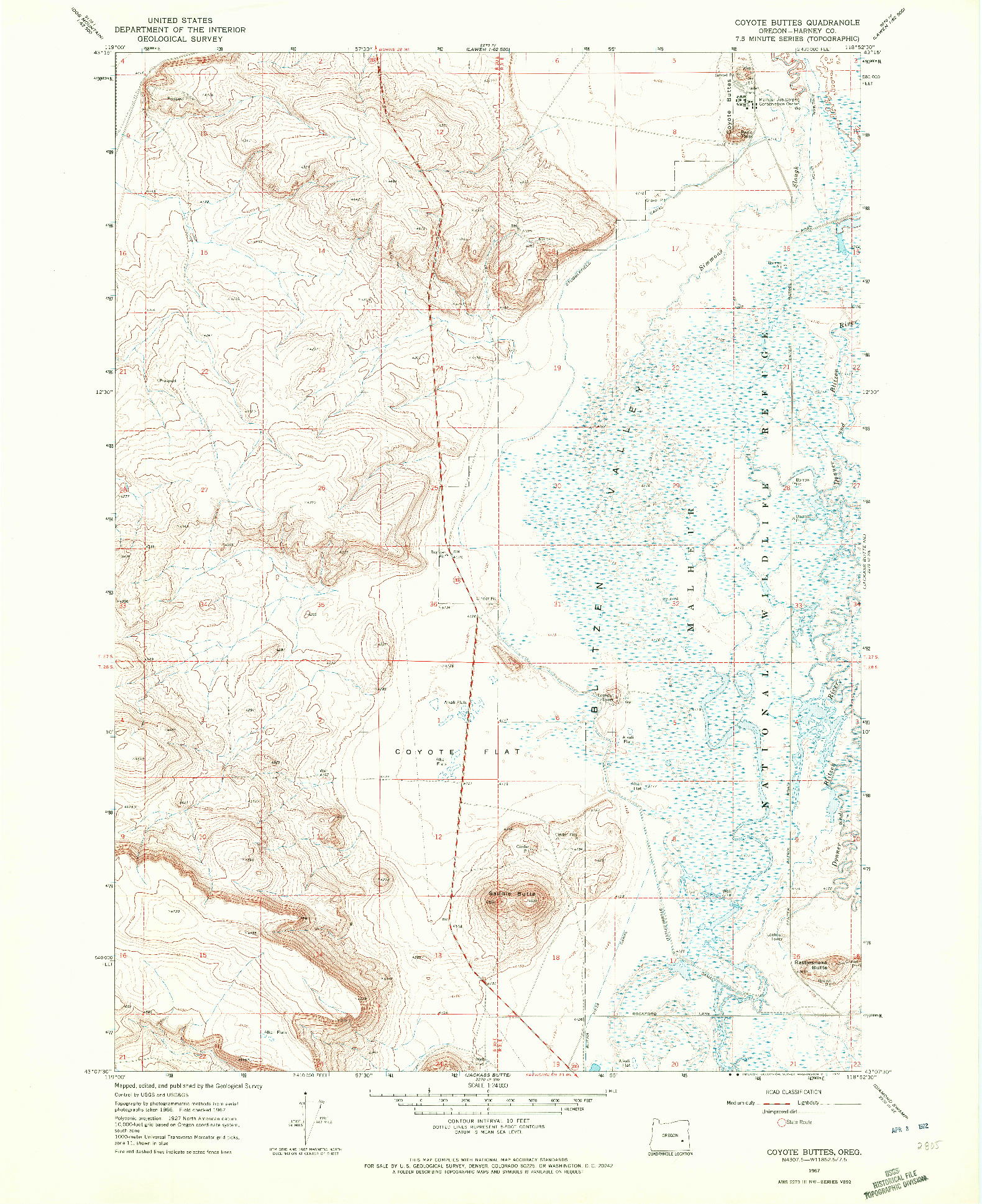 USGS 1:24000-SCALE QUADRANGLE FOR COYOTE BUTTES, OR 1967