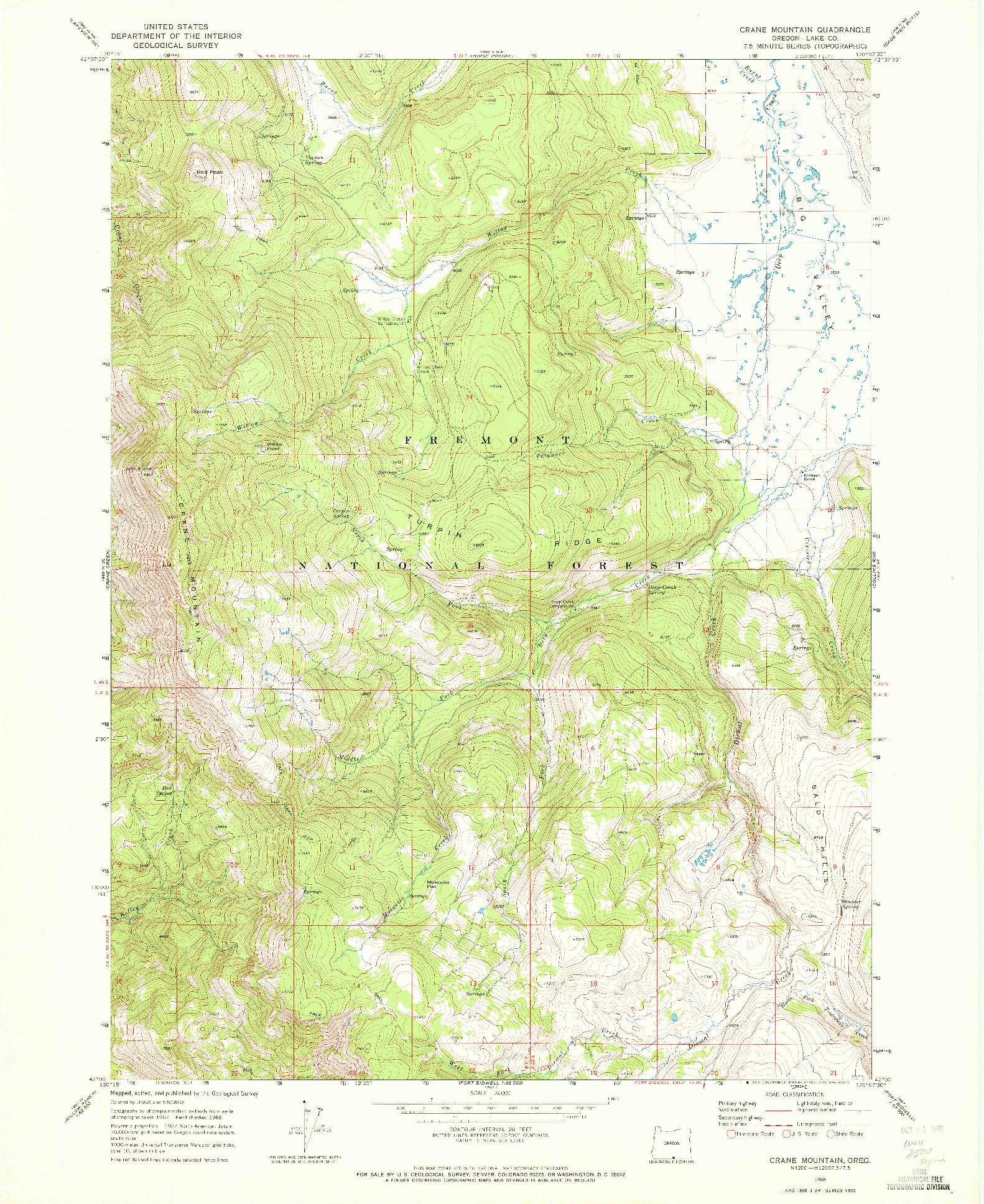 USGS 1:24000-SCALE QUADRANGLE FOR CRANE MOUNTAIN, OR 1968