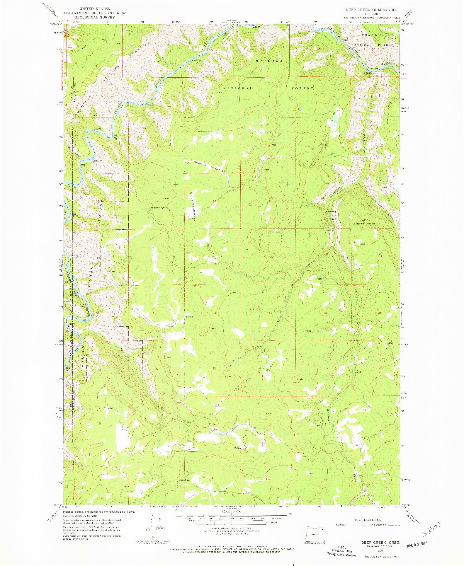 USGS 1:24000-SCALE QUADRANGLE FOR DEEP CREEK, OR 1967