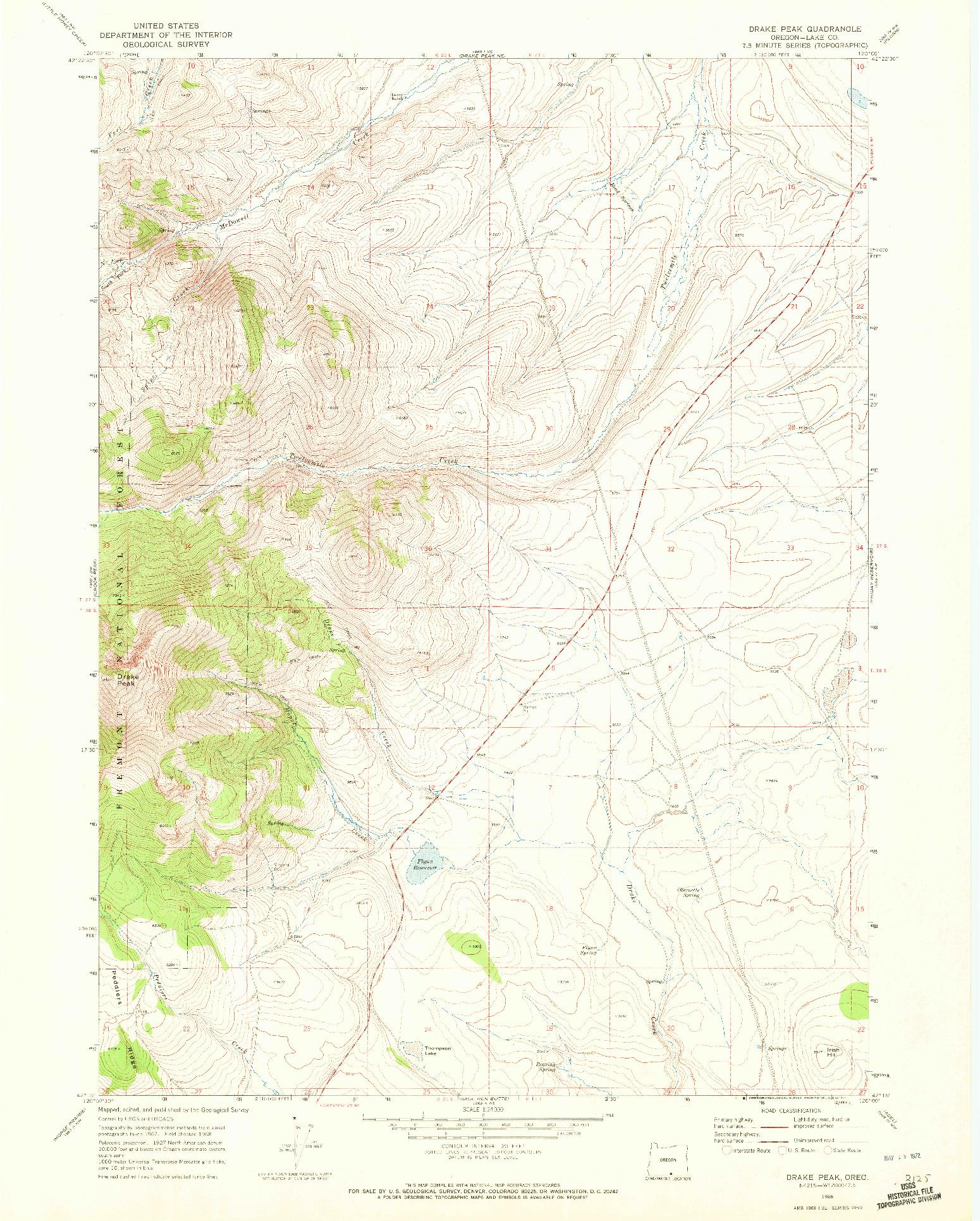 USGS 1:24000-SCALE QUADRANGLE FOR DRAKE PEAK, OR 1968