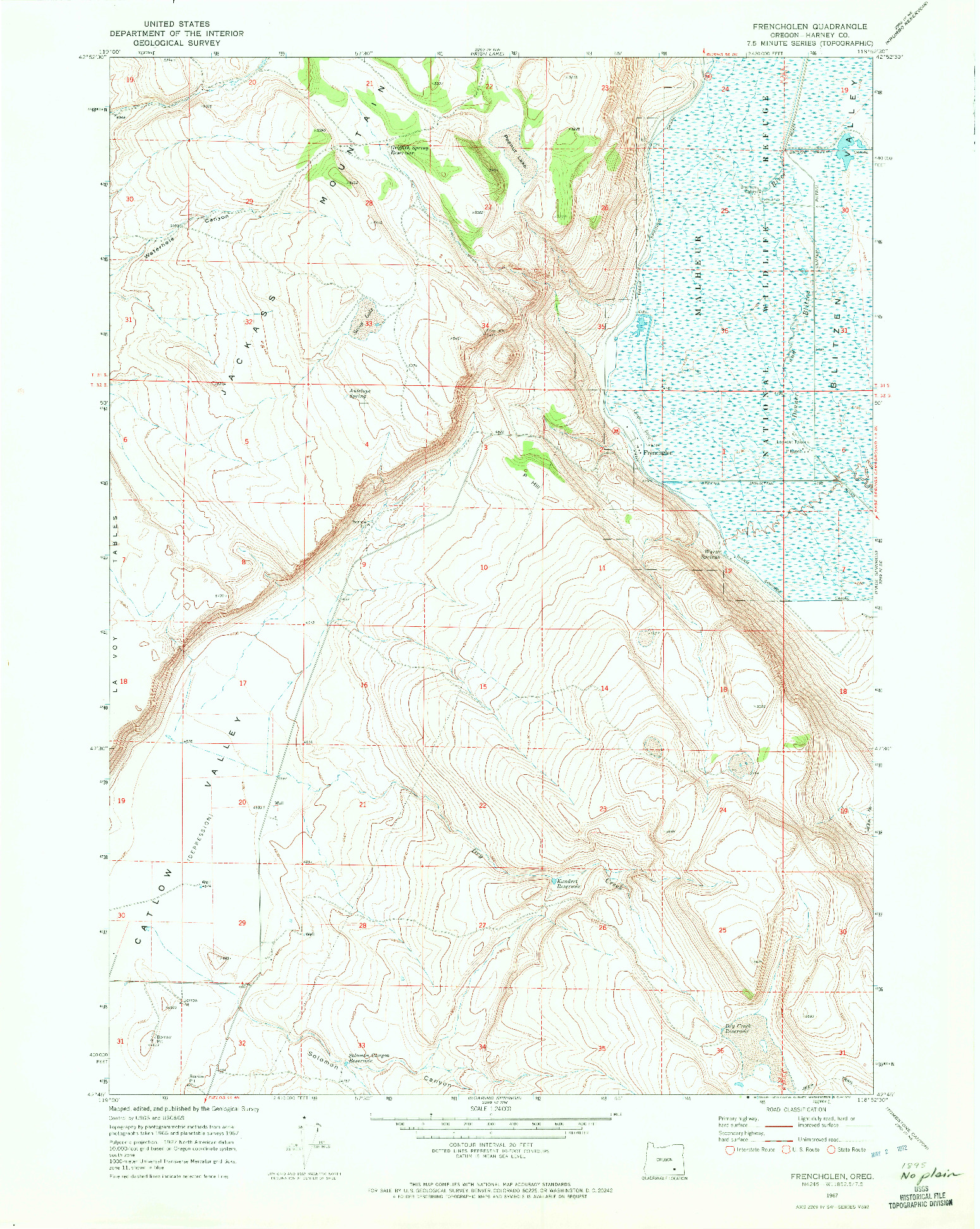 USGS 1:24000-SCALE QUADRANGLE FOR FRENCHGLEN, OR 1967