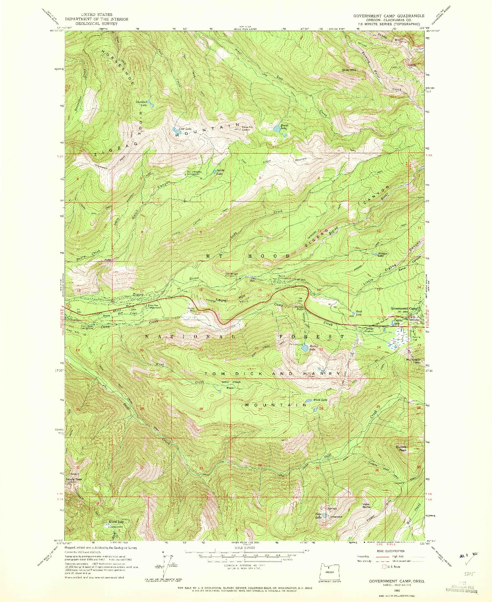 USGS 1:24000-SCALE QUADRANGLE FOR GOVERNMENT CAMP, OR 1962